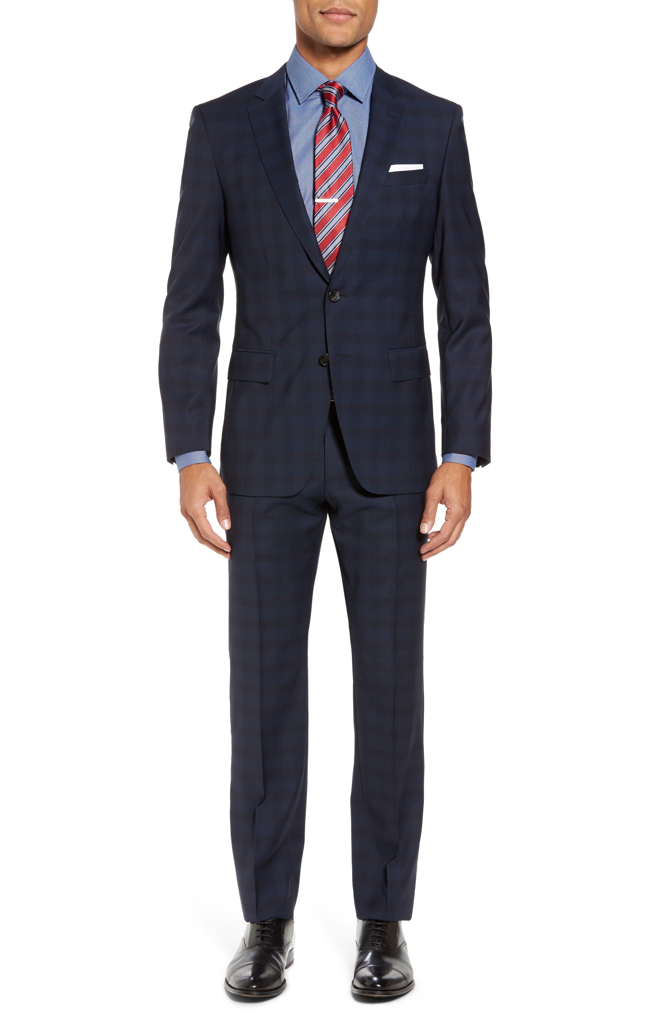 Huge/Genius Trim Fit Plaid Wool Suit,                             Main thumbnail 1, color,