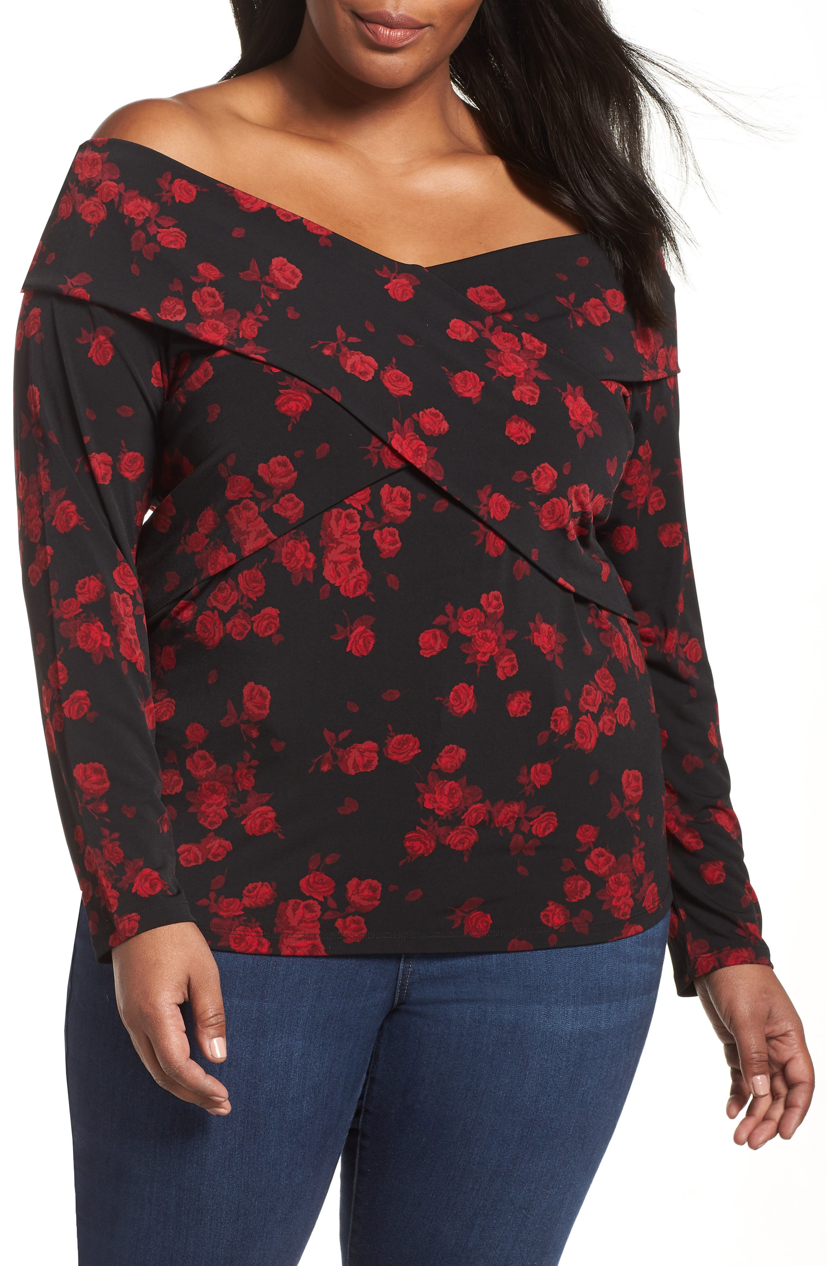 Off the Shoulder Rose Top,                             Main thumbnail 1, color,                             BLACK/ RED CURRANT