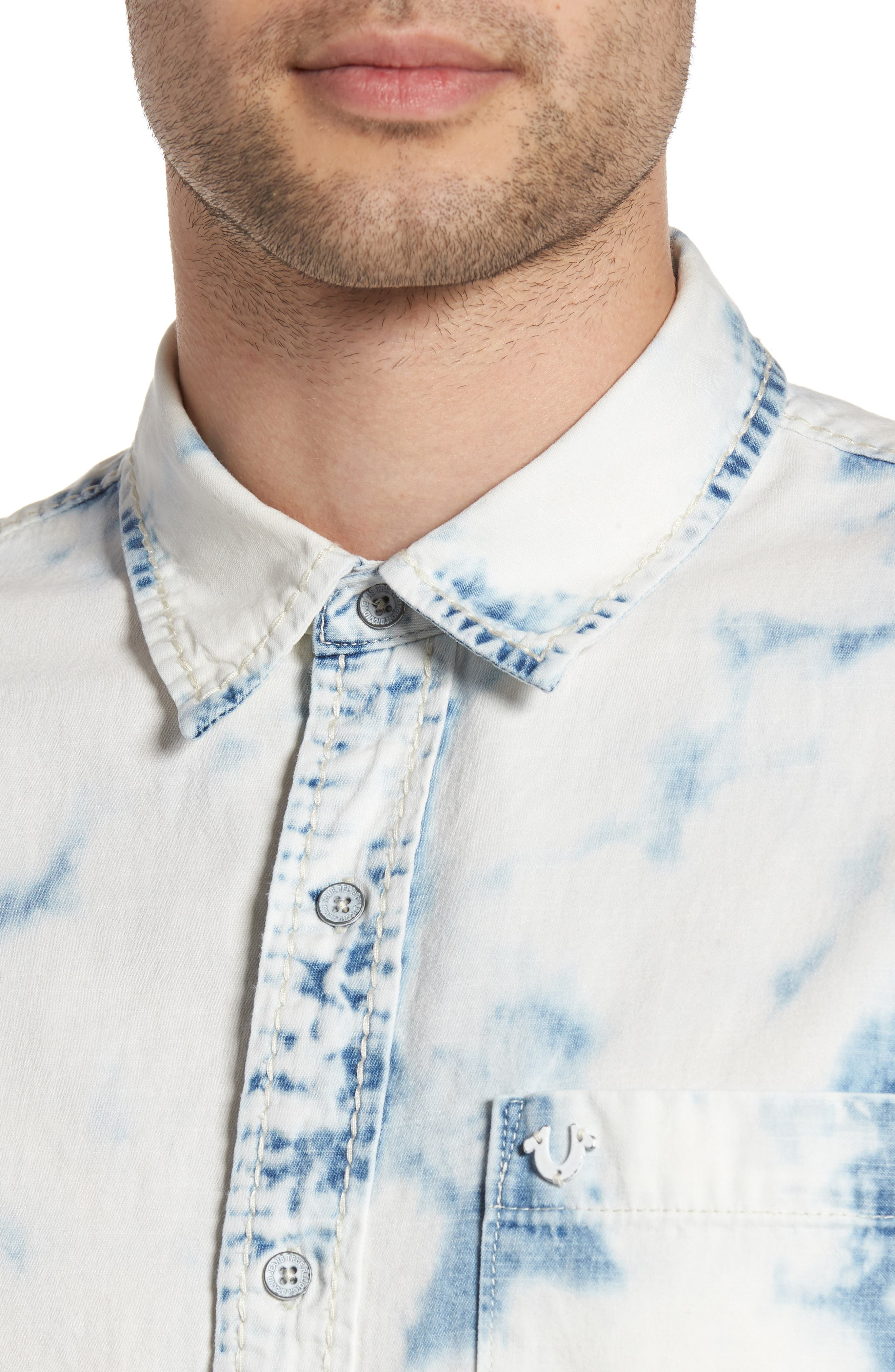 Bleached Denim Shirt,                             Alternate thumbnail 4, color,                             400