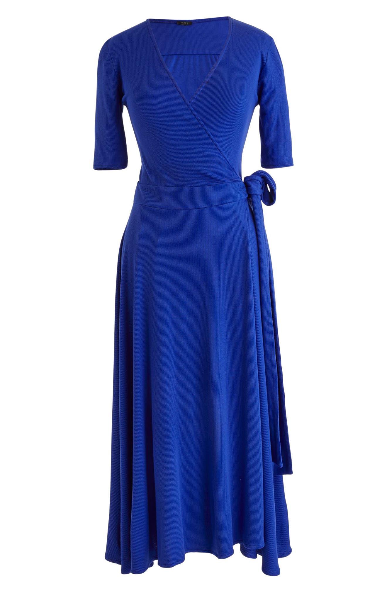 Knit Wrap Dress,                             Alternate thumbnail 6, color,