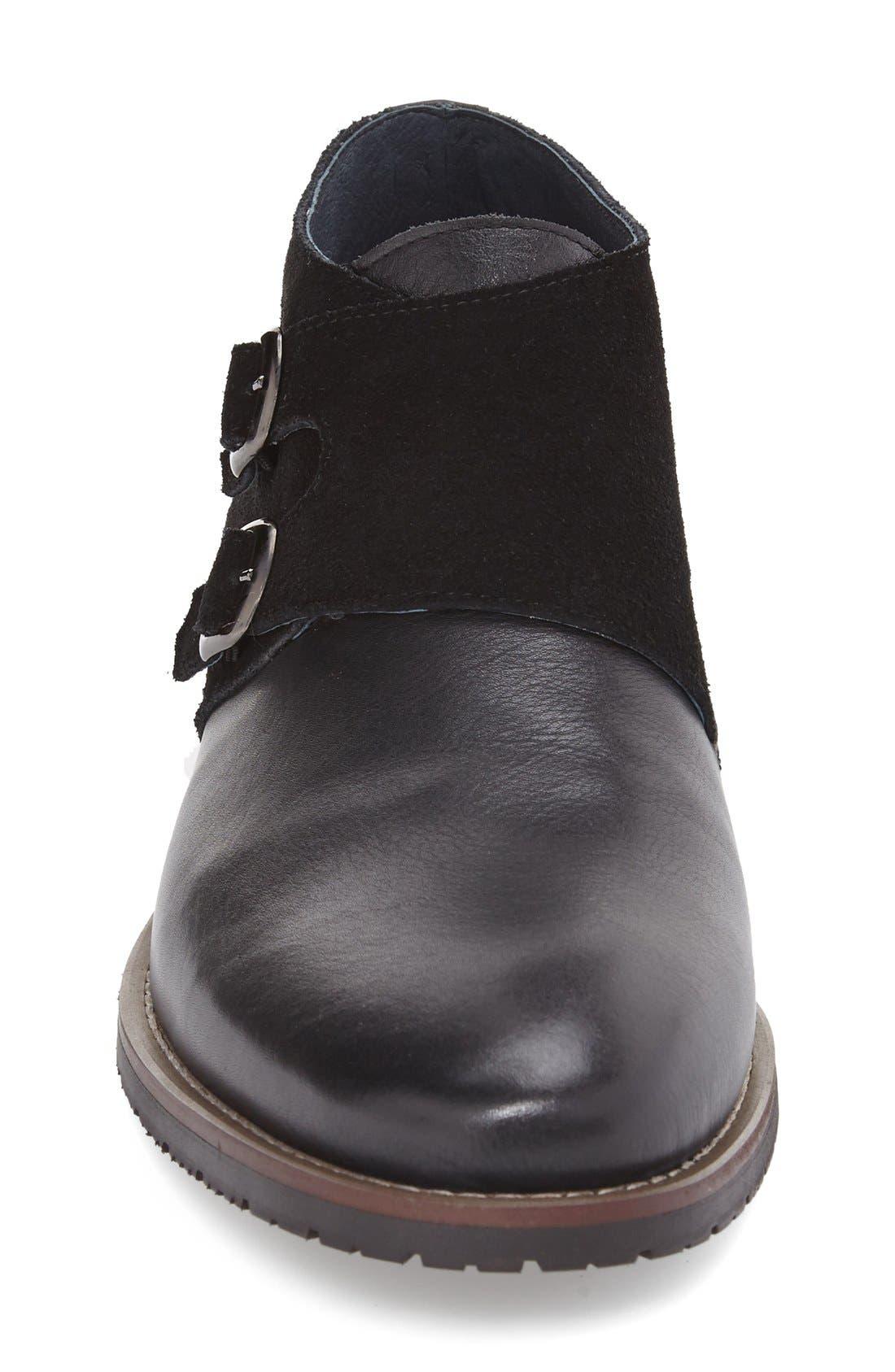 'Napoli' Double Monk Strap Shoe,                             Alternate thumbnail 4, color,                             001