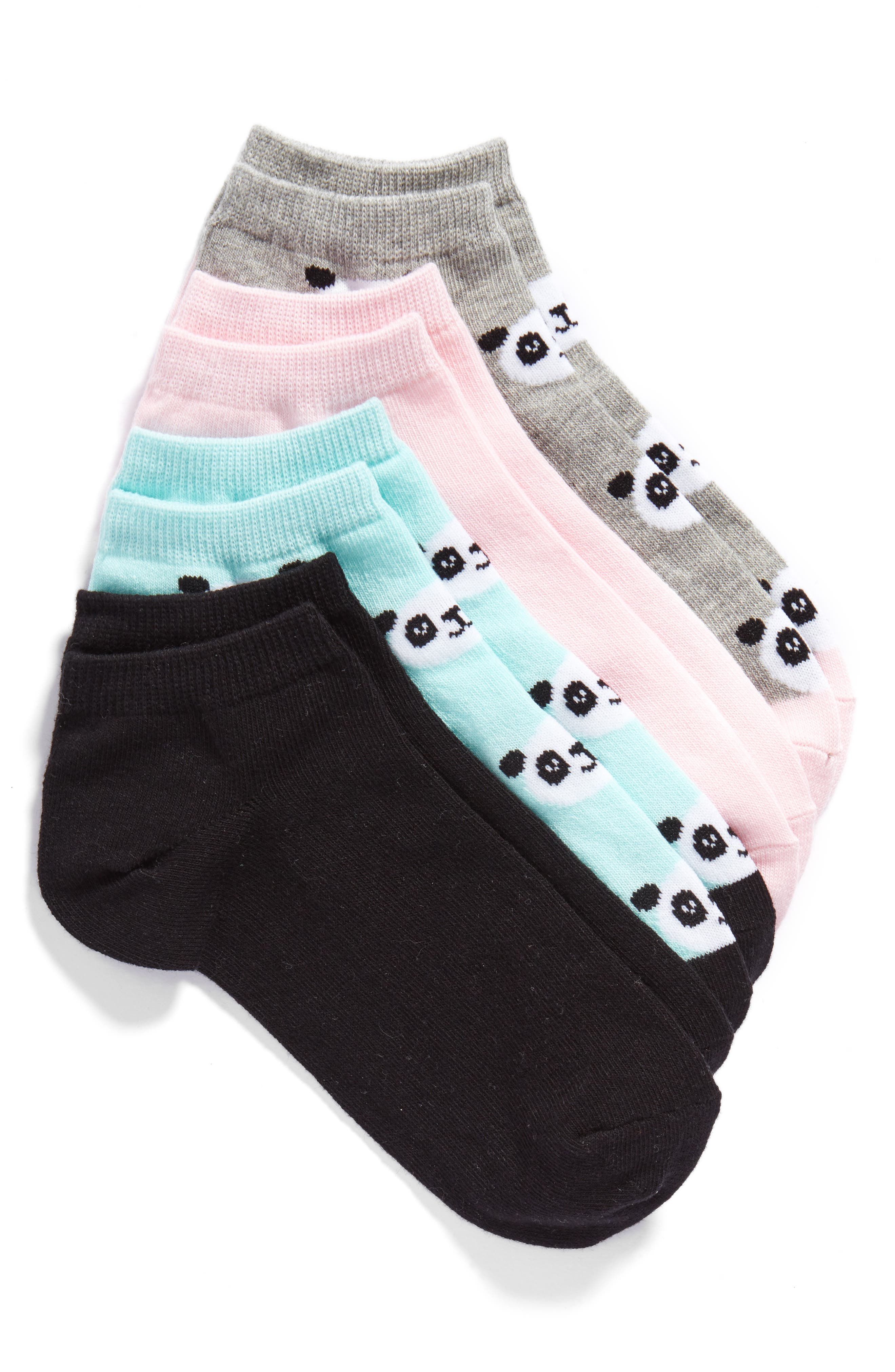 Panda Face 4-Pack Ankle Socks,                             Main thumbnail 1, color,                             060