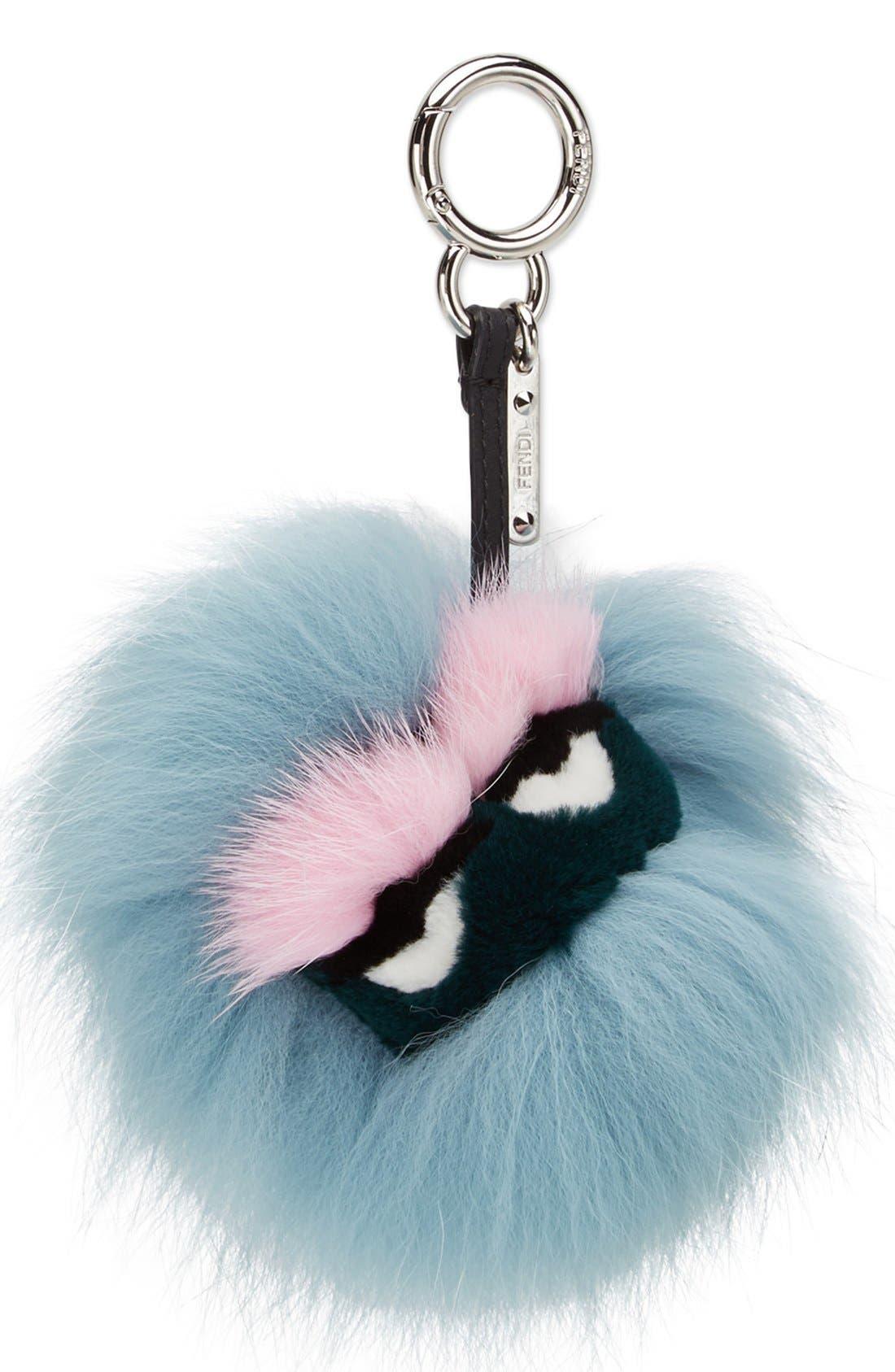 FENDI,                             'Mini Eyelash' Genuine Fox, Mink & Rabbit Fur Bag Charm,                             Alternate thumbnail 2, color,                             400