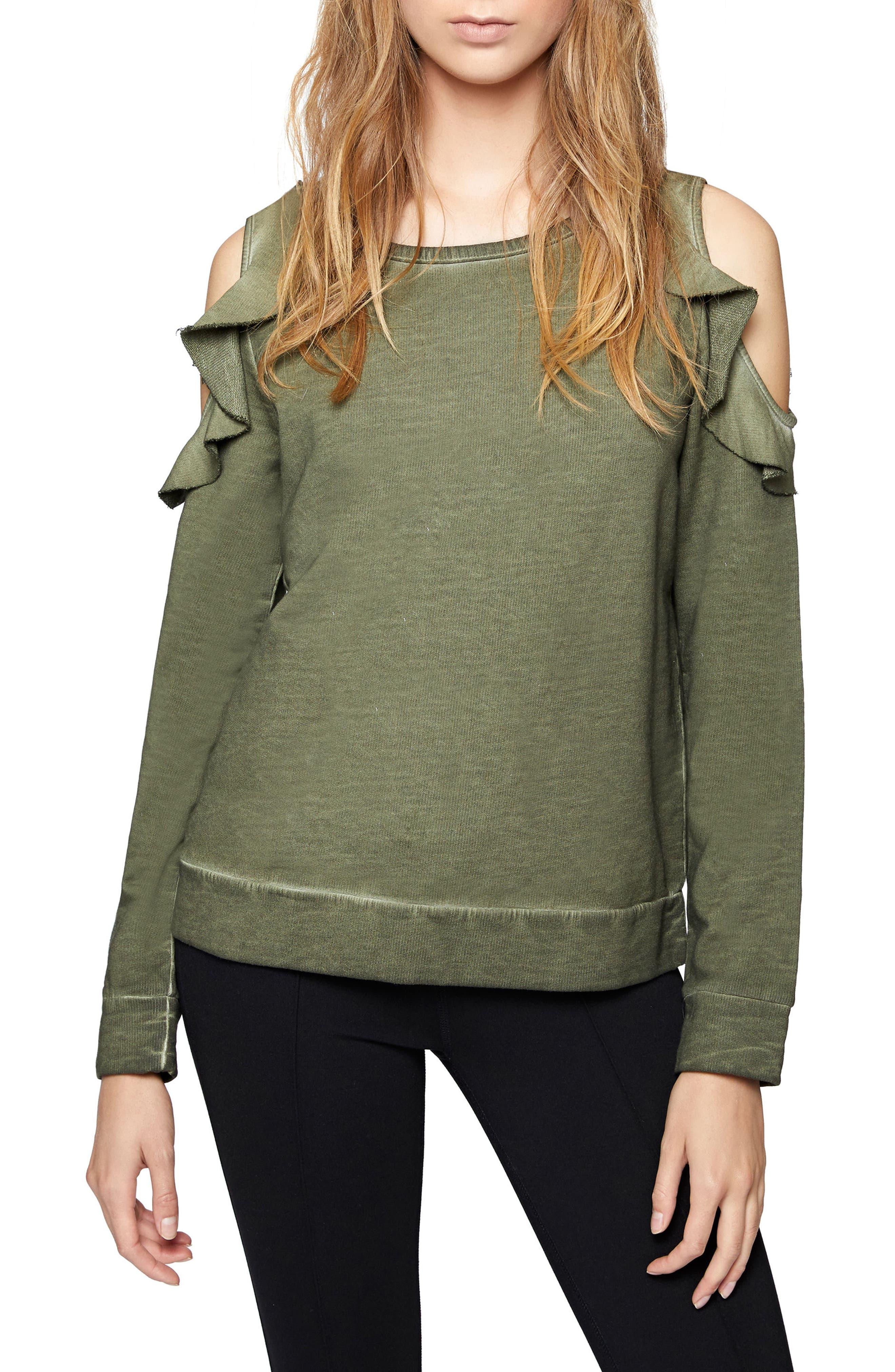 Ashley Bare Ruffle Sweatshirt,                             Main thumbnail 1, color,                             301