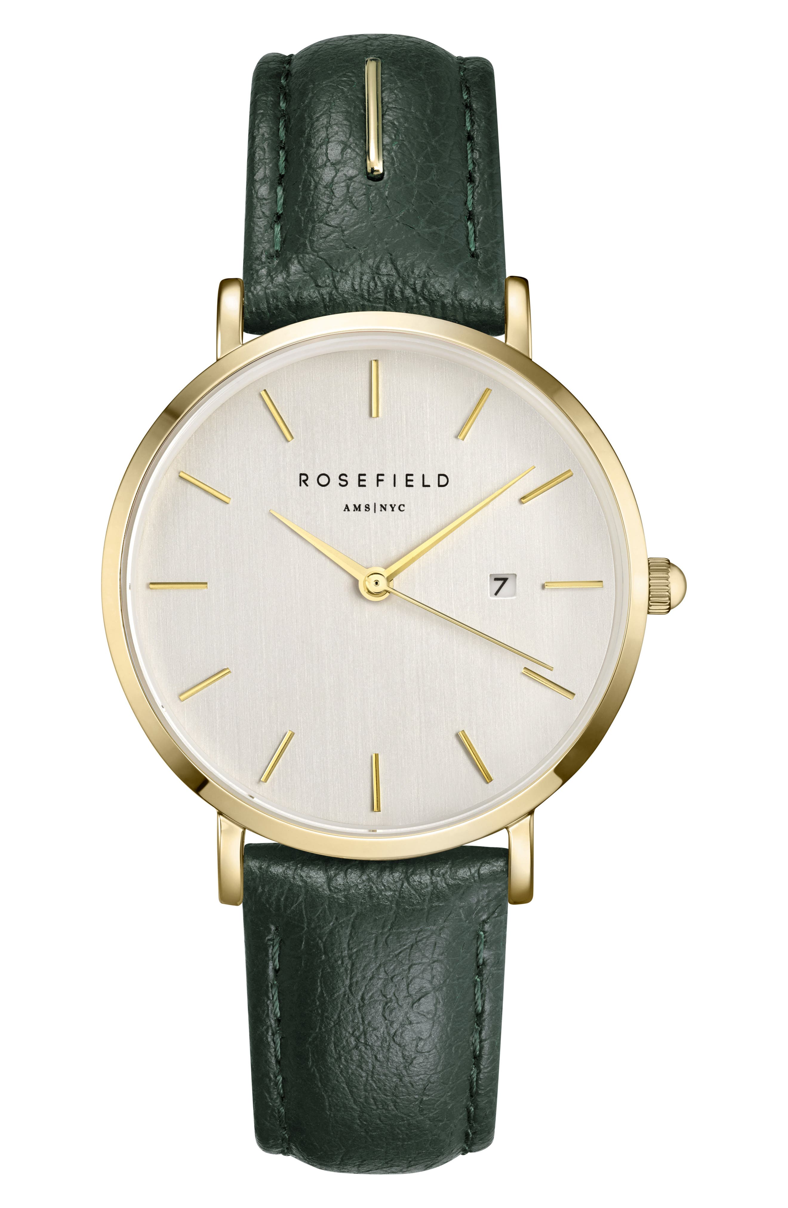 The September Issue Leather Strap Watch, 33mm,                             Main thumbnail 1, color,                             GREEN/ GOLD