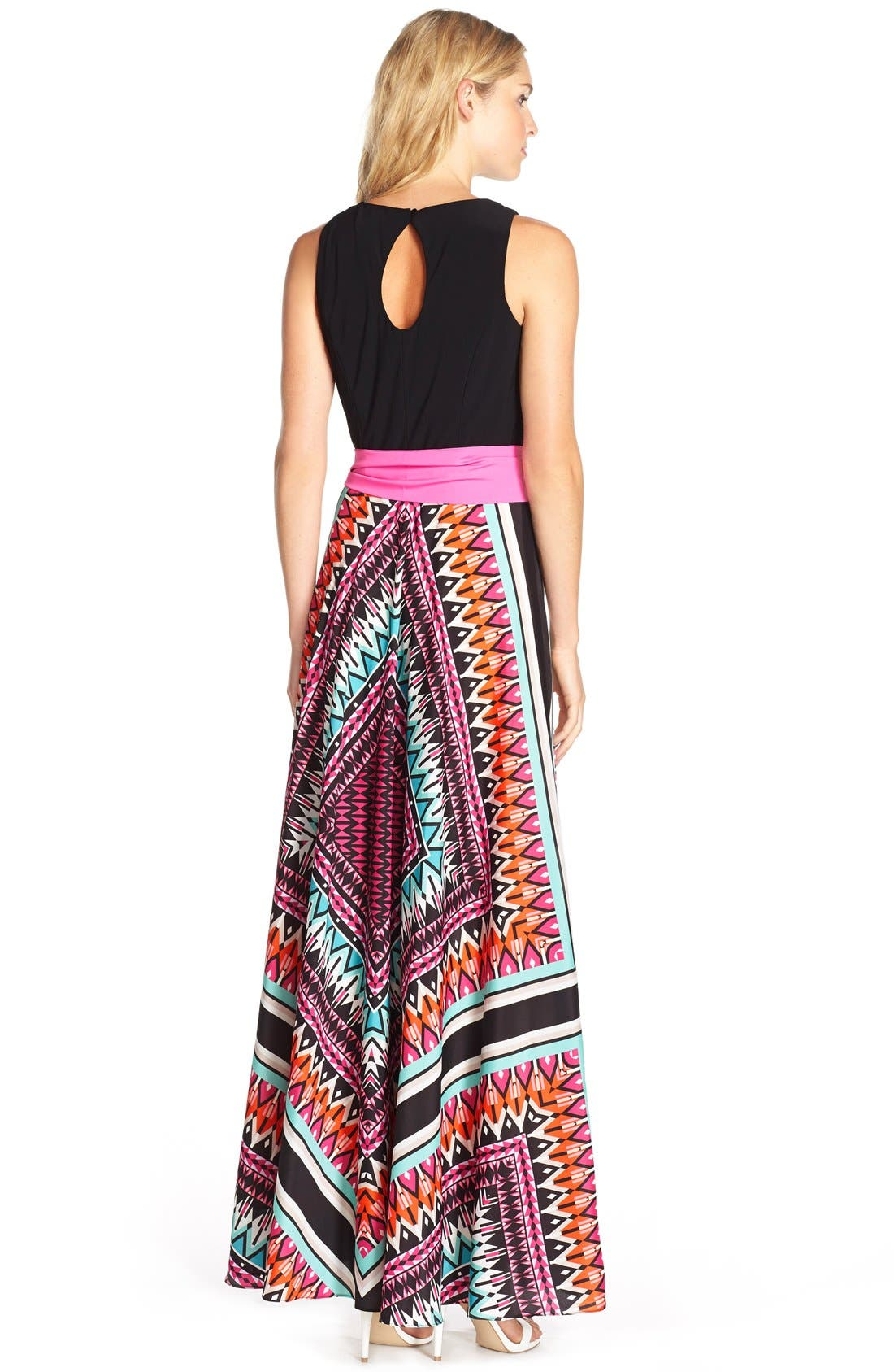 Jersey & Crêpe de Chine Maxi Dress,                             Alternate thumbnail 2, color,                             653
