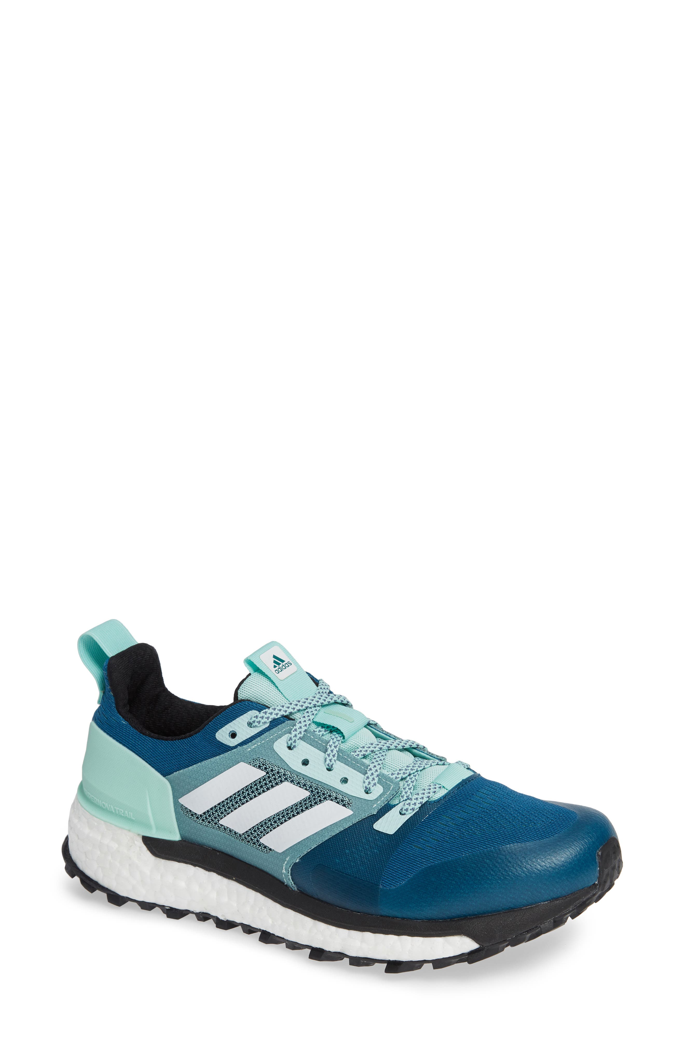 Supernova Trail Running Shoe,                             Main thumbnail 1, color,                             REAL TEAL/ WHITE/ CLEAR MINT