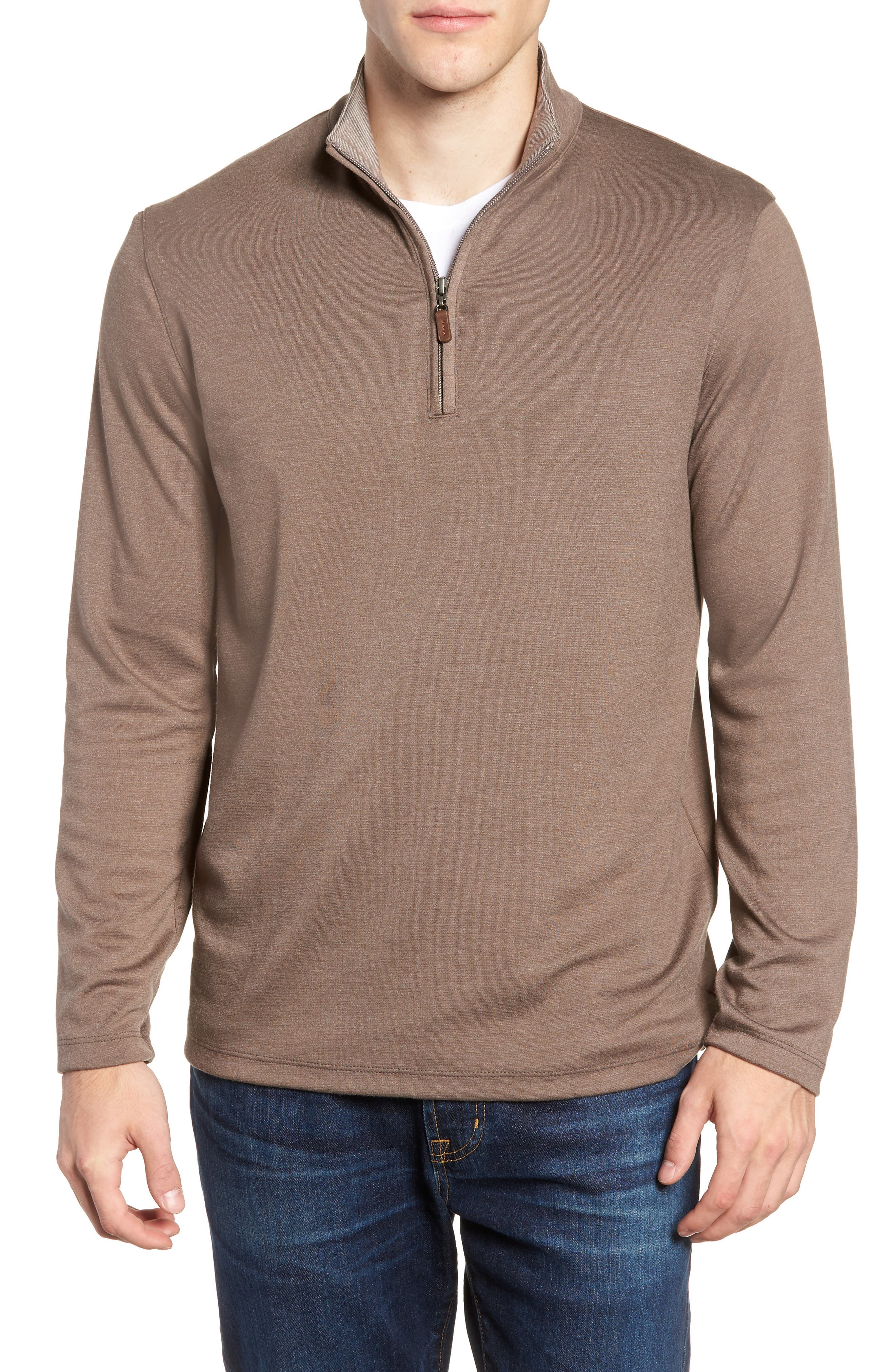 Mercer Quarter Zip Performance Pullover,                             Main thumbnail 1, color,                             TAUPE