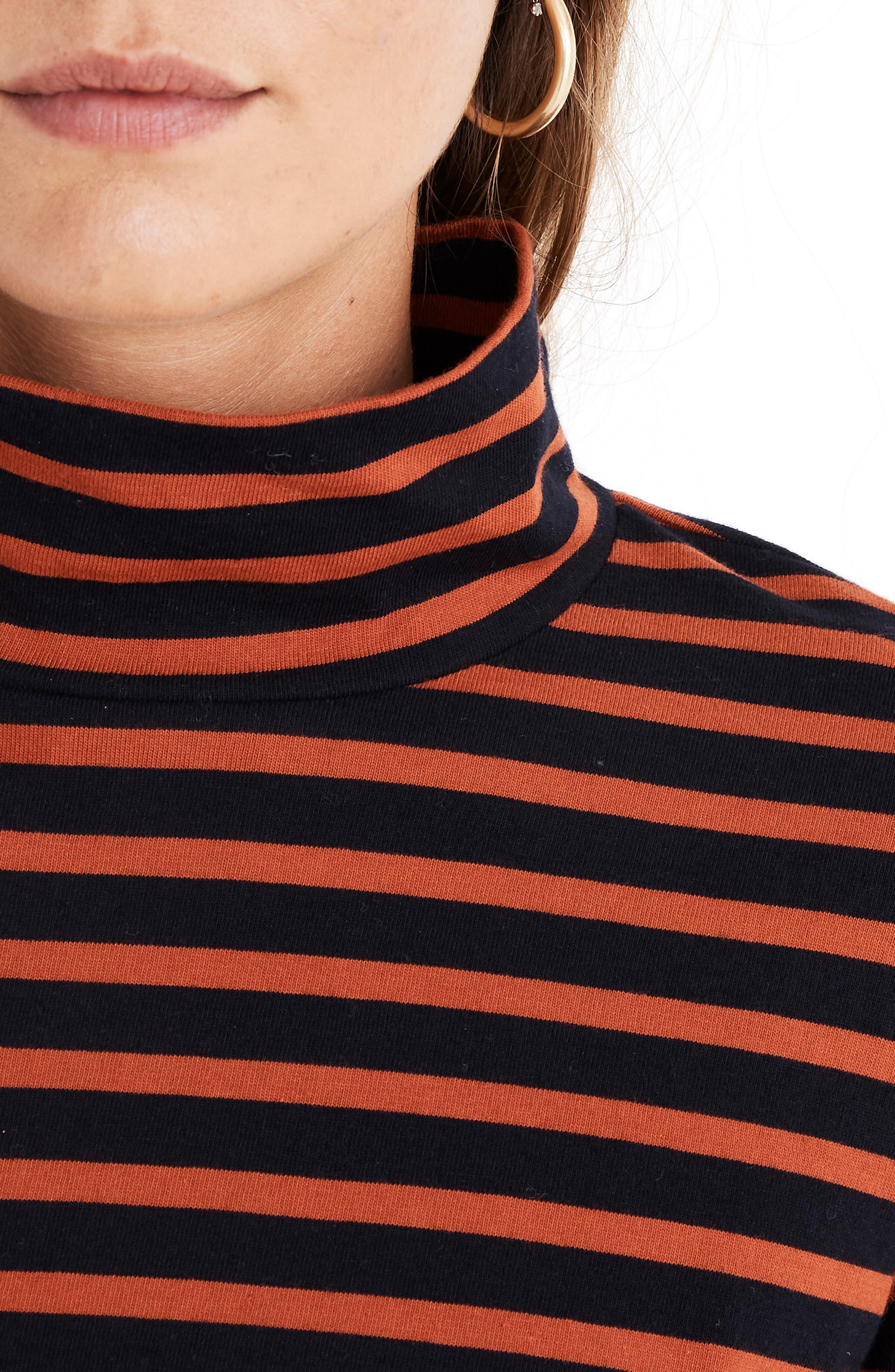 MADEWELL,                             Stripe Wide Sleeve Turtleneck,                             Alternate thumbnail 4, color,                             400