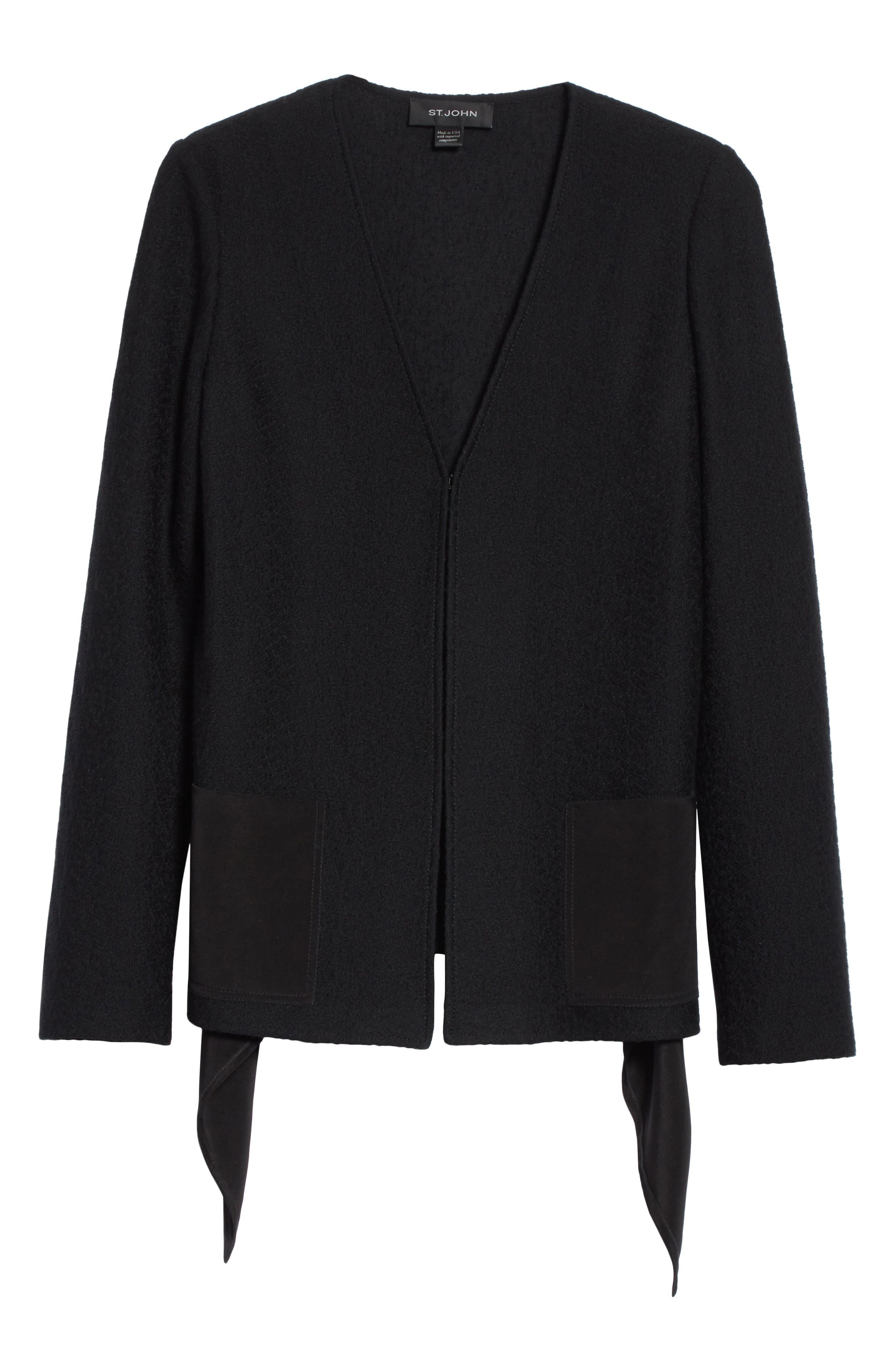 ST. JOHN COLLECTION,                             Hannah Knit A-Line Jacket,                             Alternate thumbnail 5, color,                             001