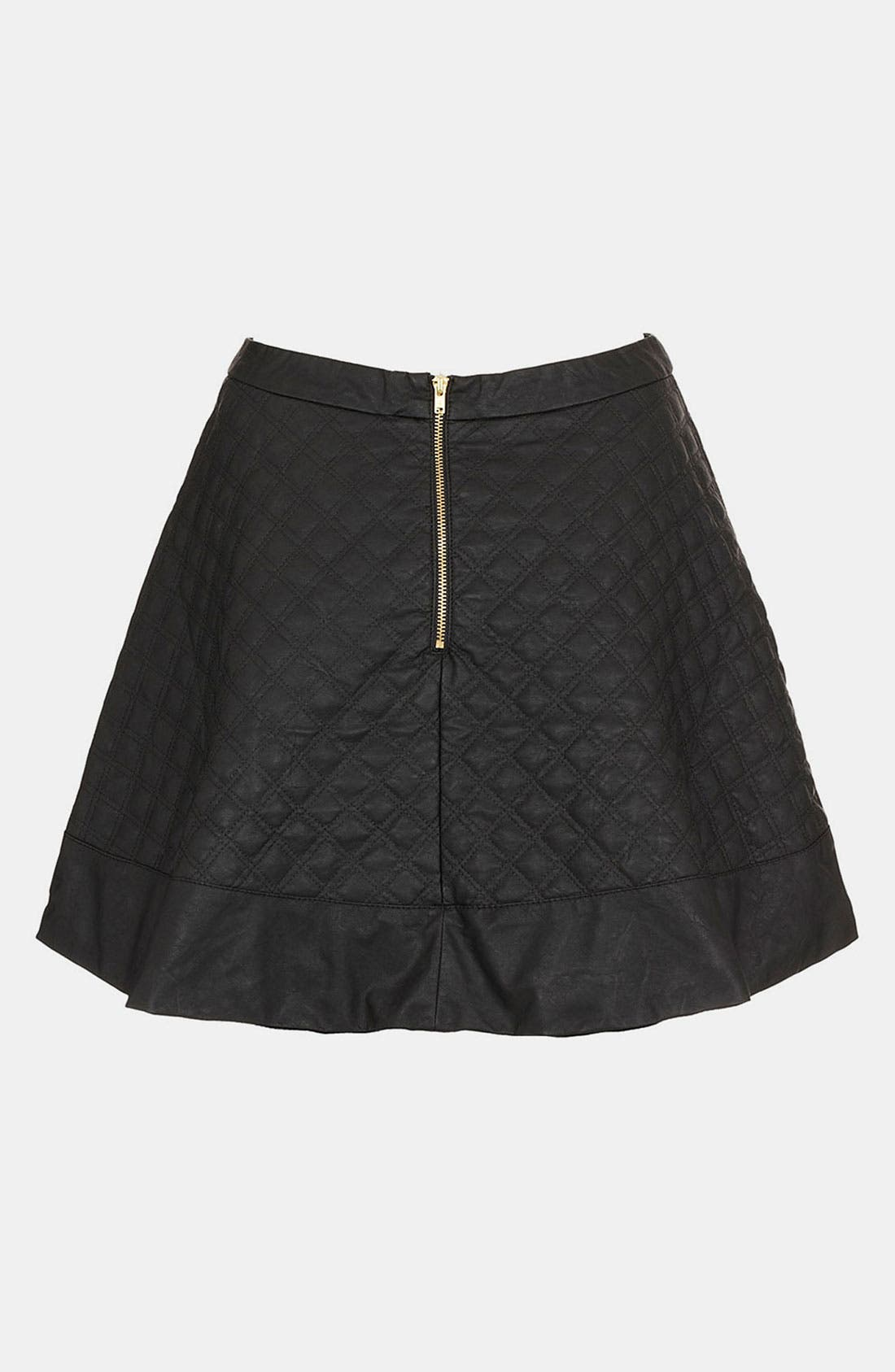 Quilted Faux Leather Skater Skirt,                             Alternate thumbnail 3, color,                             001
