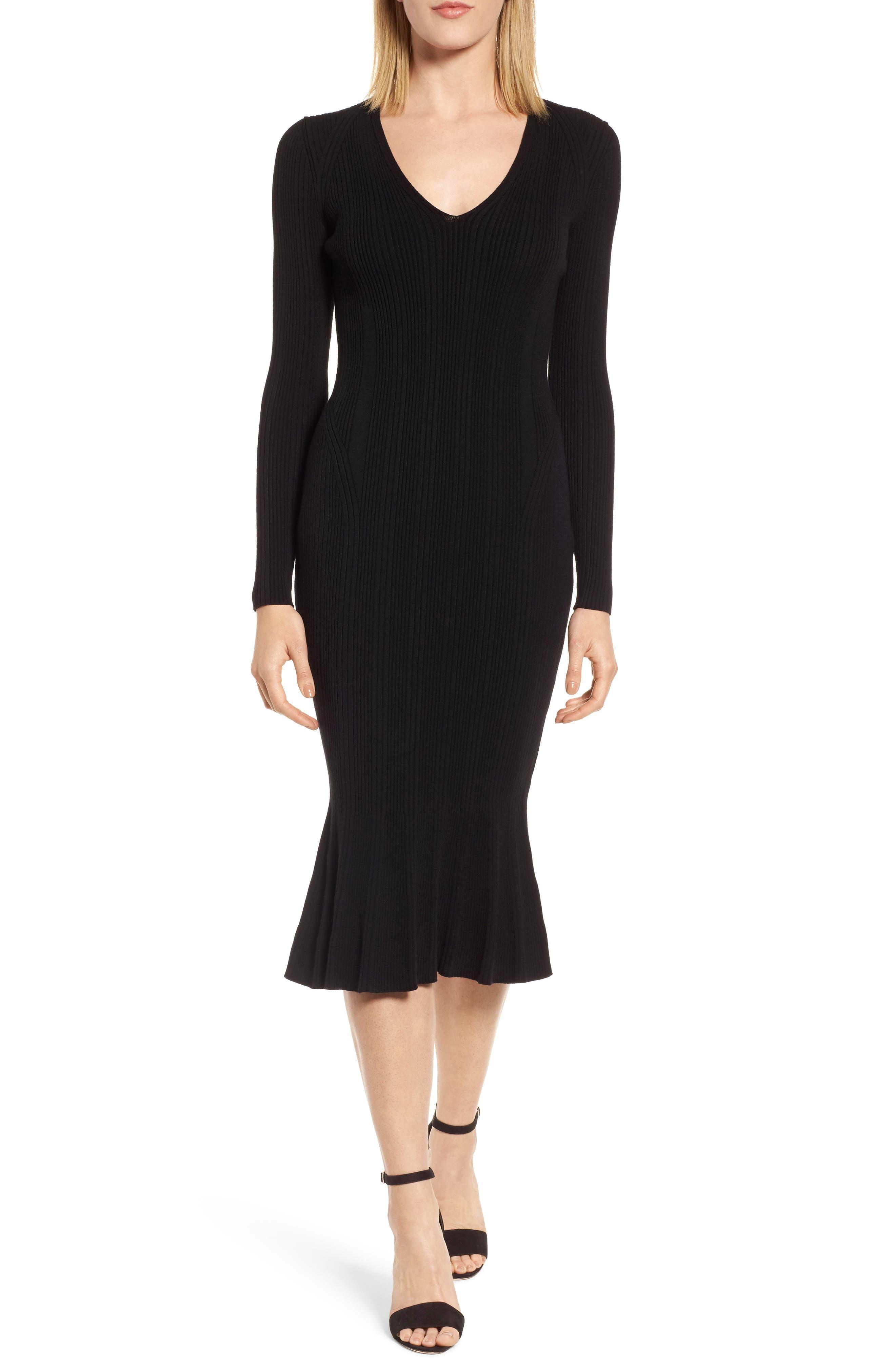 Ribbed Knit Midi Dress,                             Main thumbnail 1, color,                             001