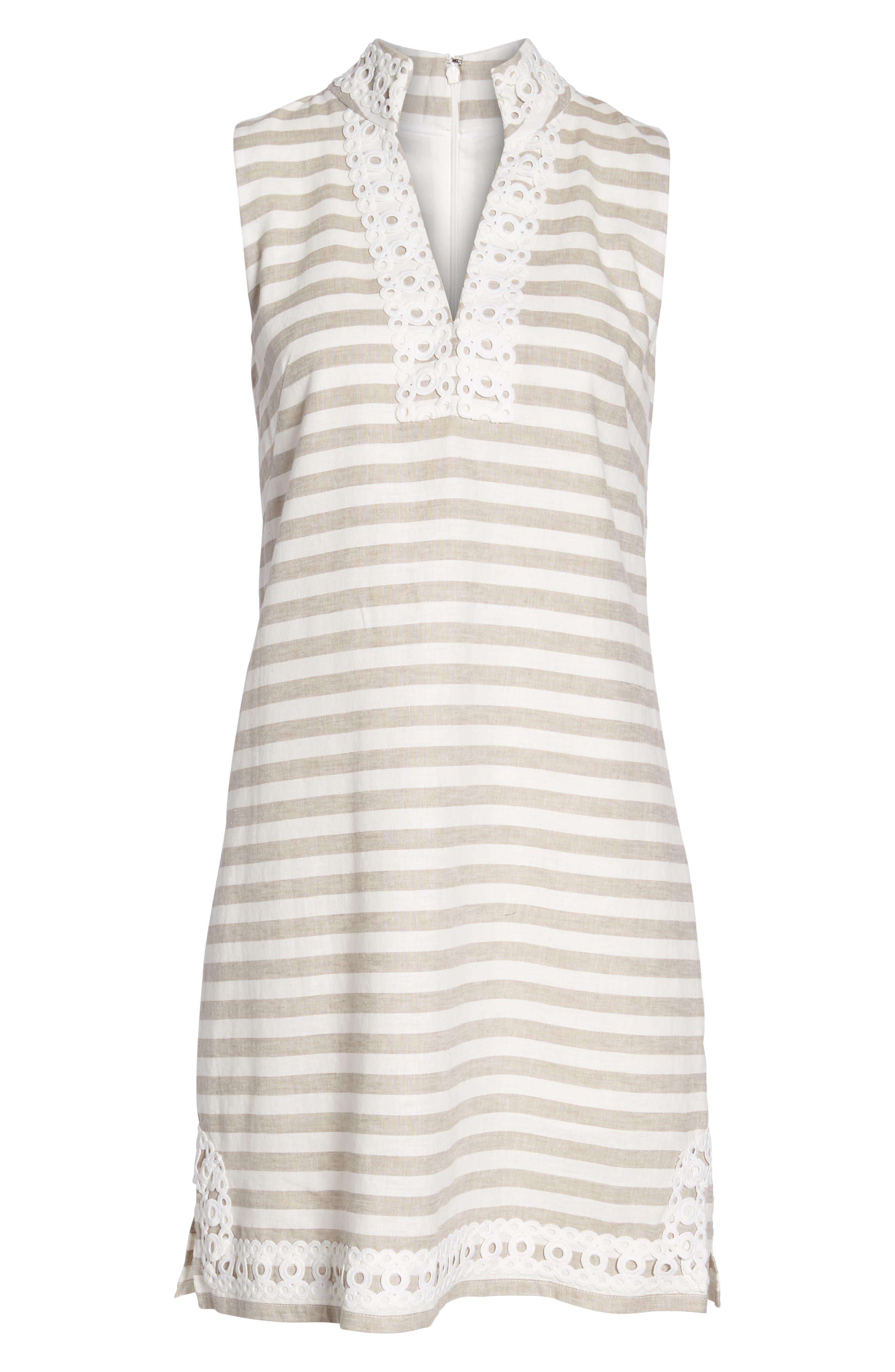 Stripe Linen & Cotton Blend Dress,                             Alternate thumbnail 7, color,                             250
