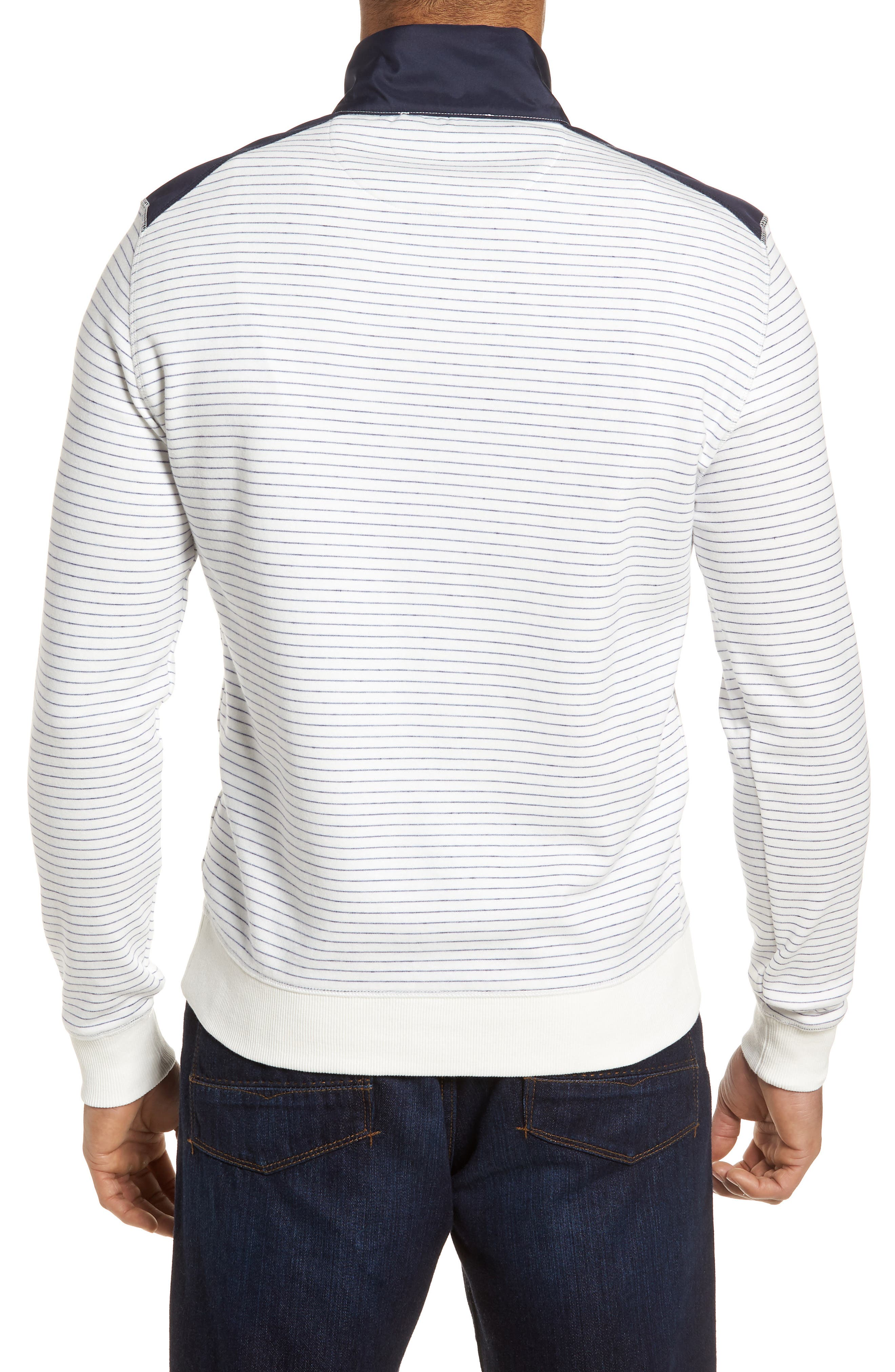 Regular Fit Stripe Quarter Zip Pullover,                             Alternate thumbnail 8, color,
