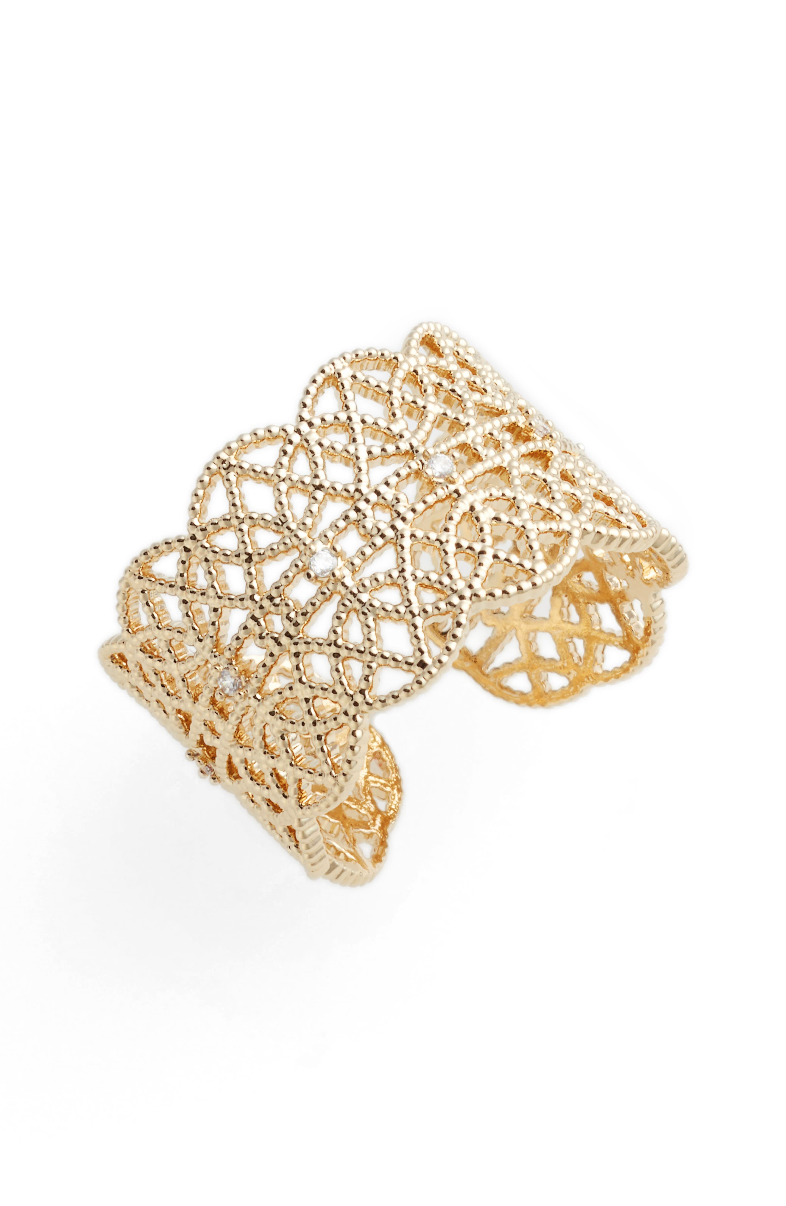 Pavé Lace Cuff Ring,                         Main,                         color, YELLOW GOLD