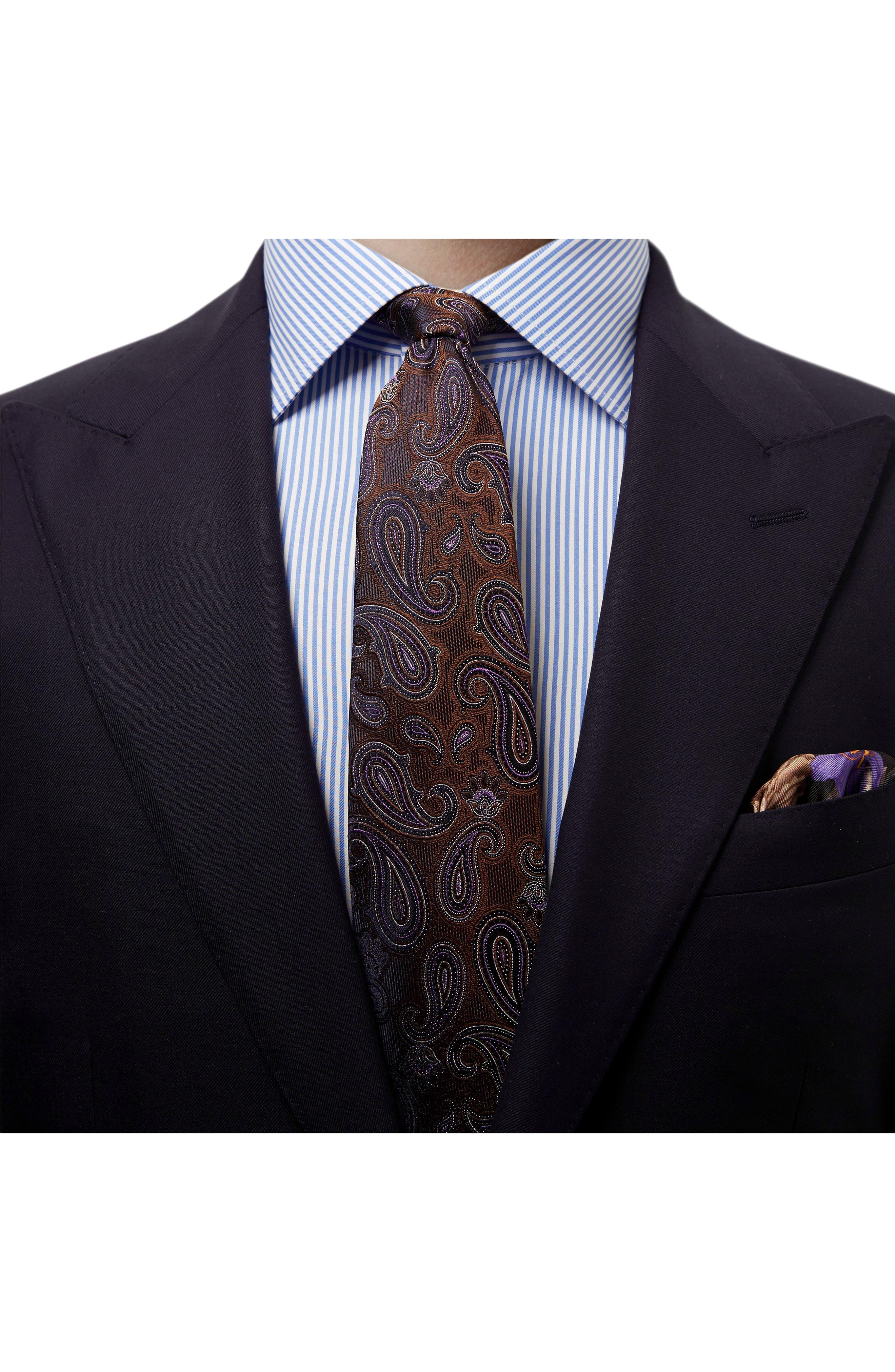 Paisley Silk Tie,                             Alternate thumbnail 3, color,                             BROWN
