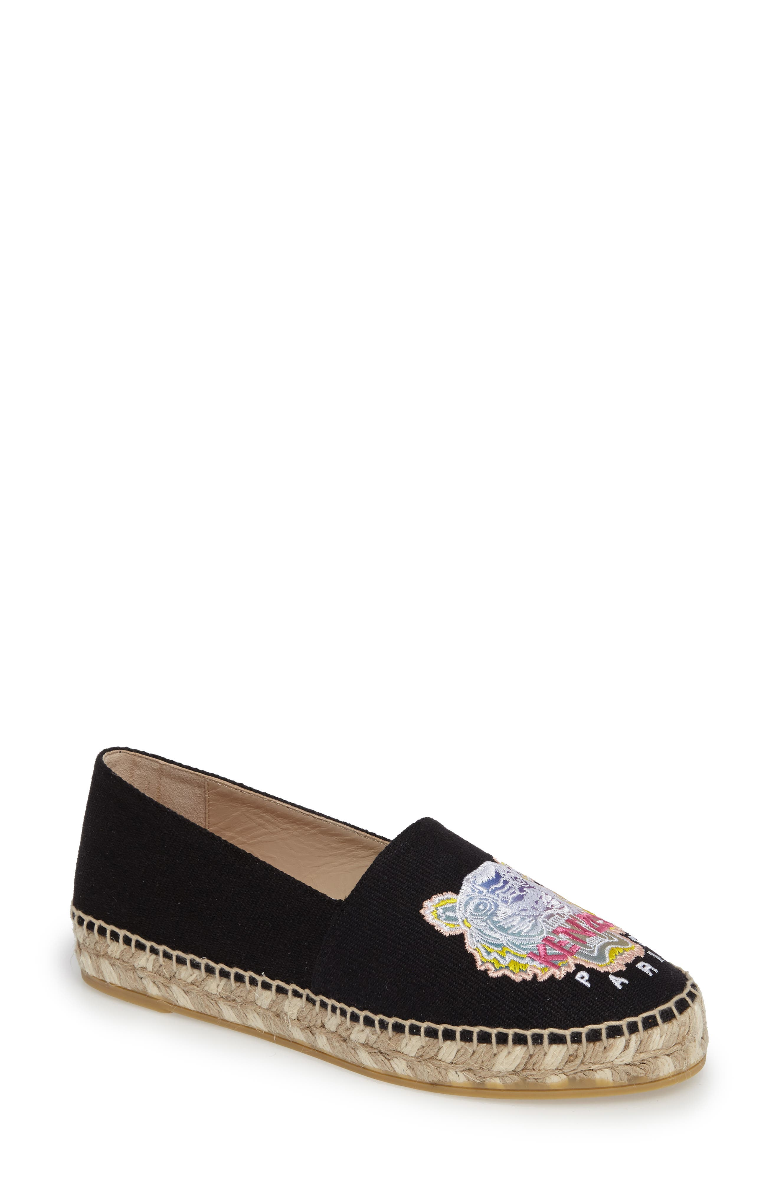 Rainbow Tiger Embroidered Espadrille,                             Main thumbnail 1, color,                             001