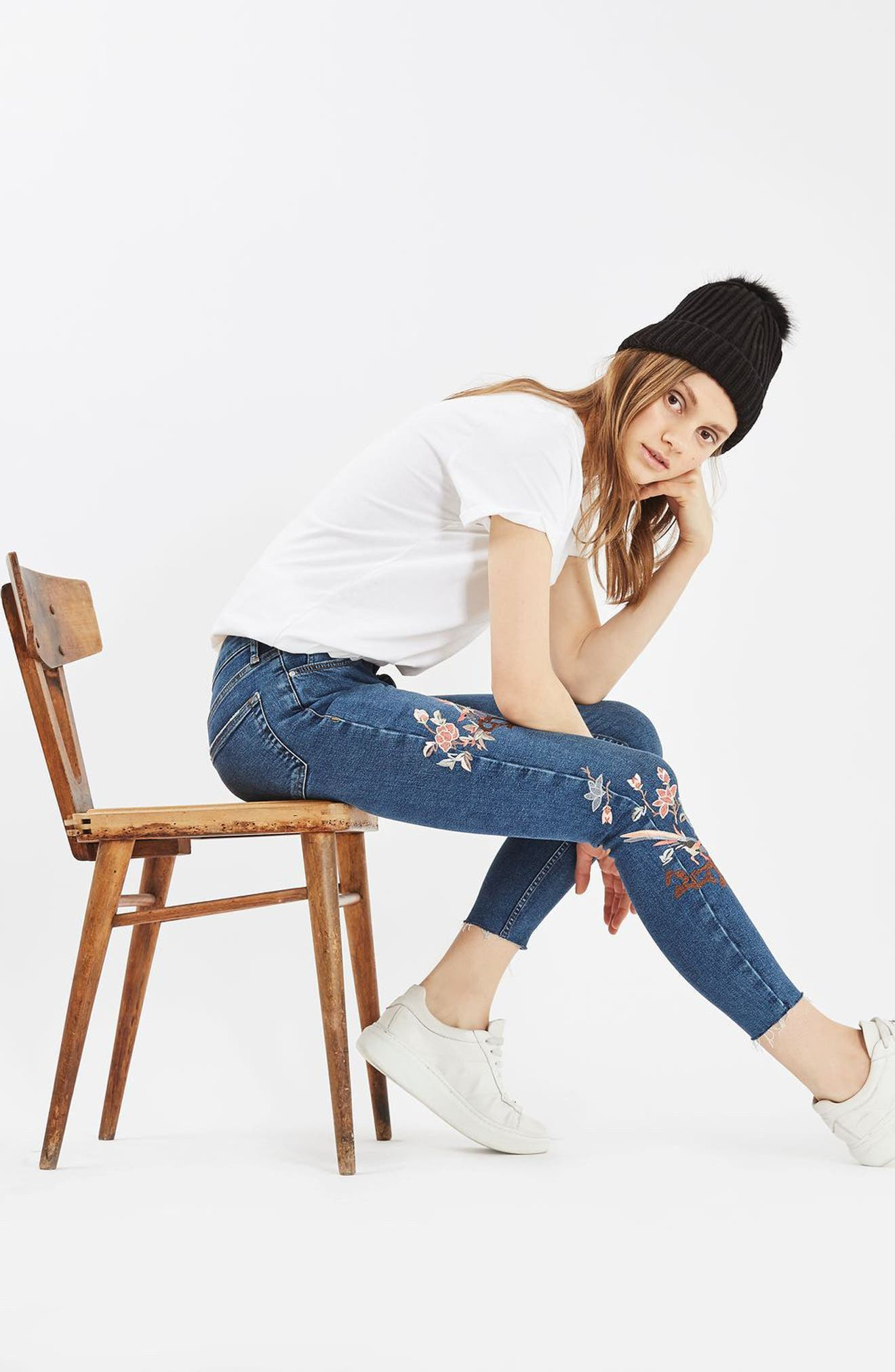 Moto Jamie Embroidered Skinny Jeans,                             Alternate thumbnail 4, color,                             400