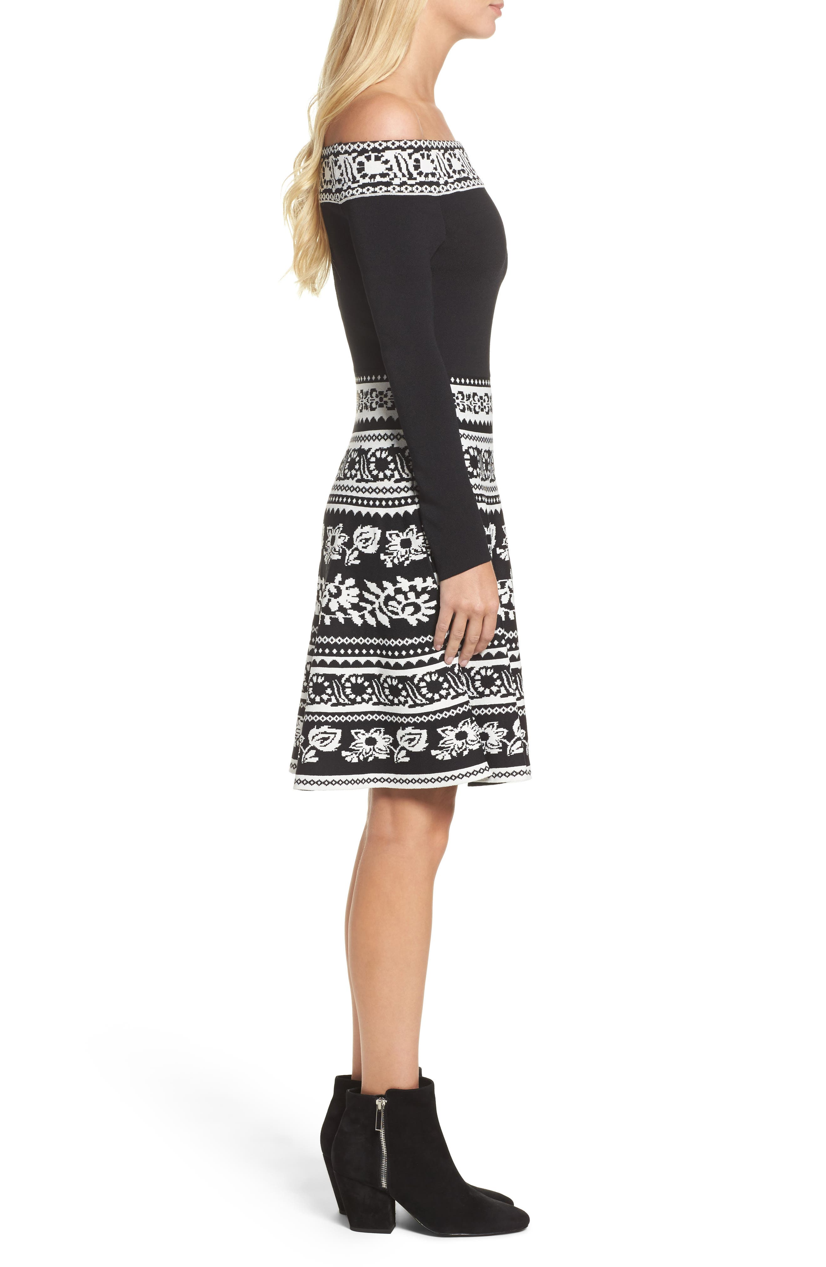 Pattern Off the Shoulder A-Line Knit Dress,                             Alternate thumbnail 3, color,                             012