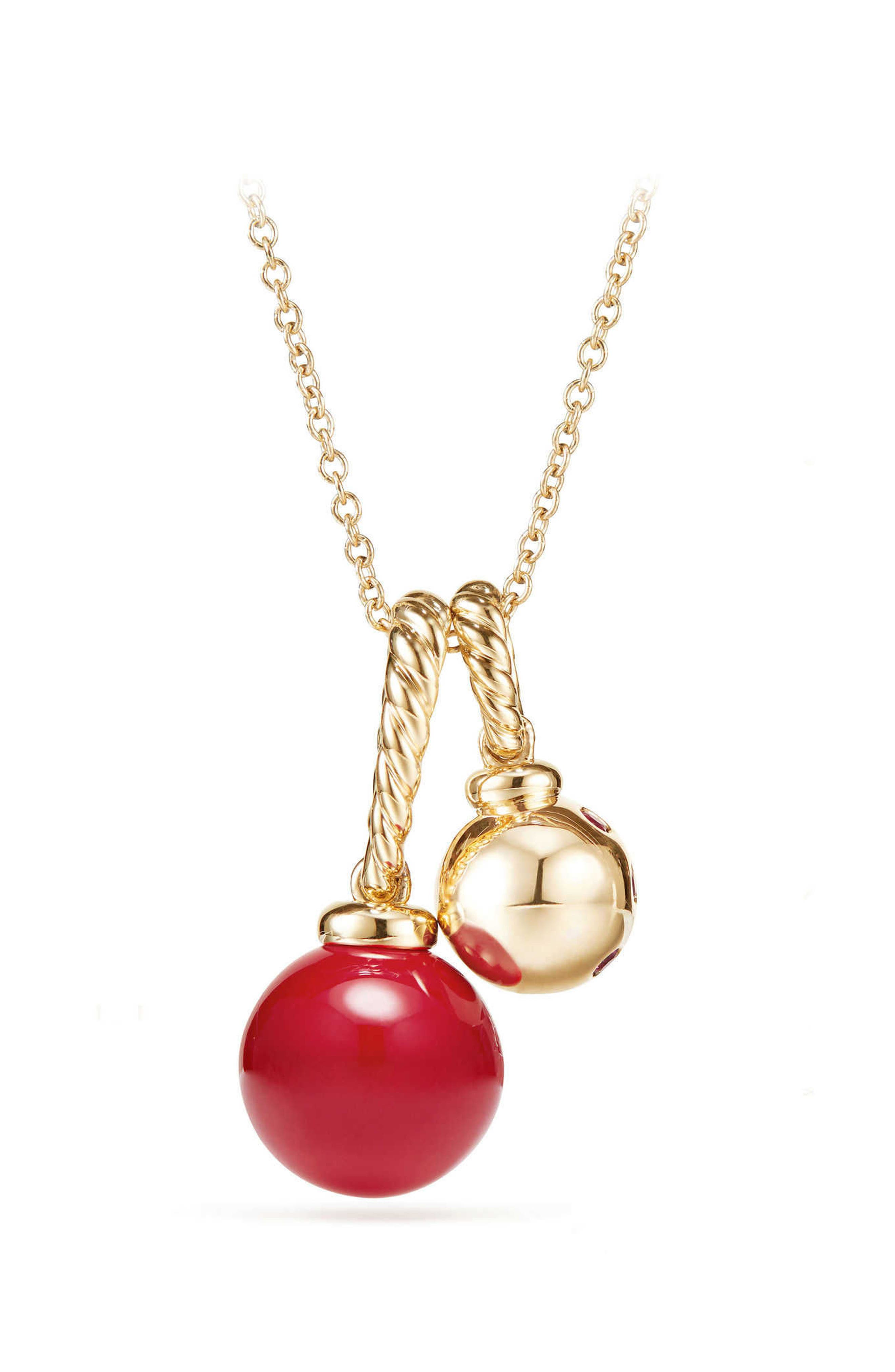 Solari Pendant Necklace in 18K Gold with Cherry Amber,                         Main,                         color, YELLOW GOLD/ RED
