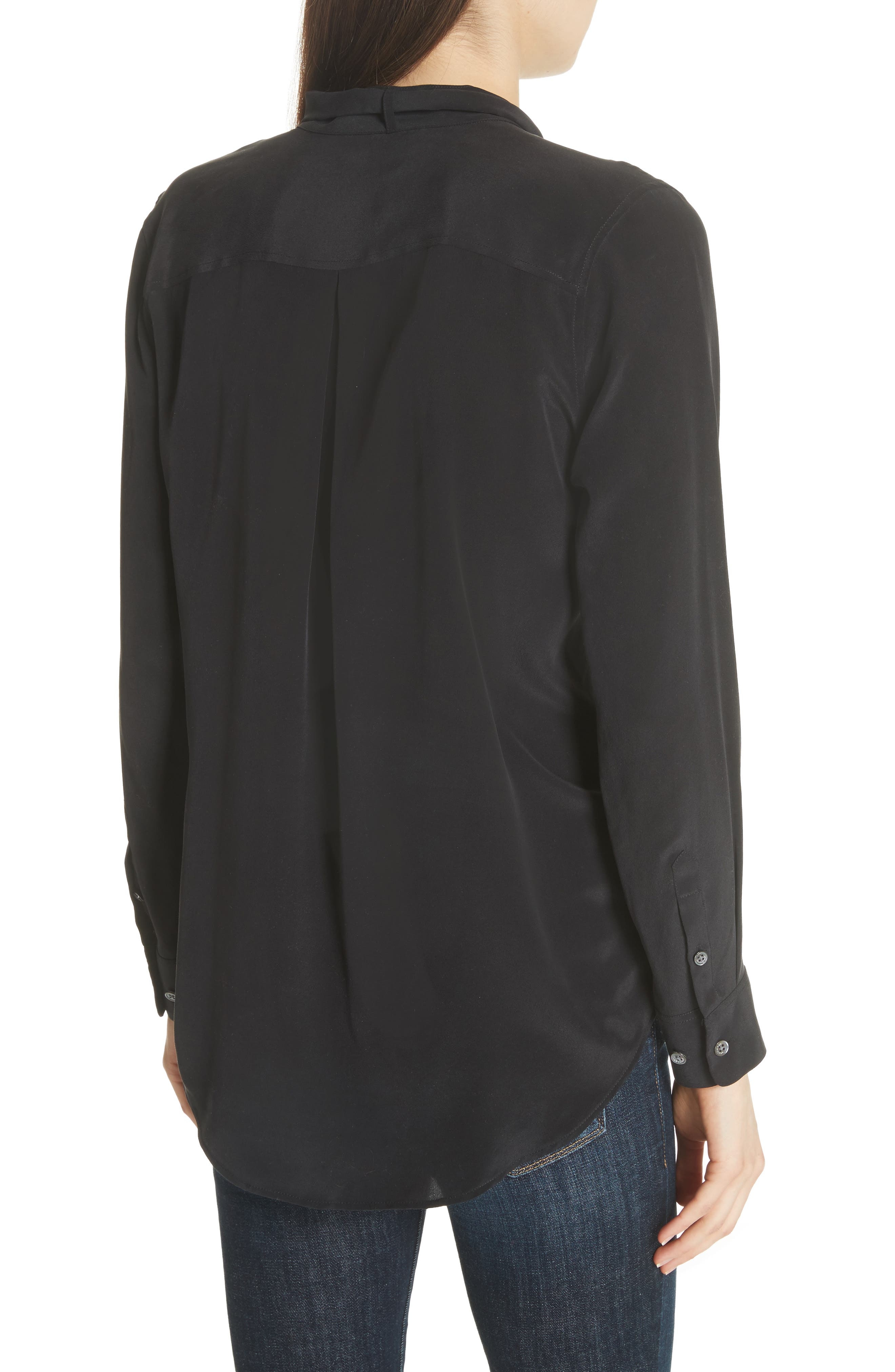 Carleen Tie Neck Silk Blouse,                             Alternate thumbnail 2, color,                             003