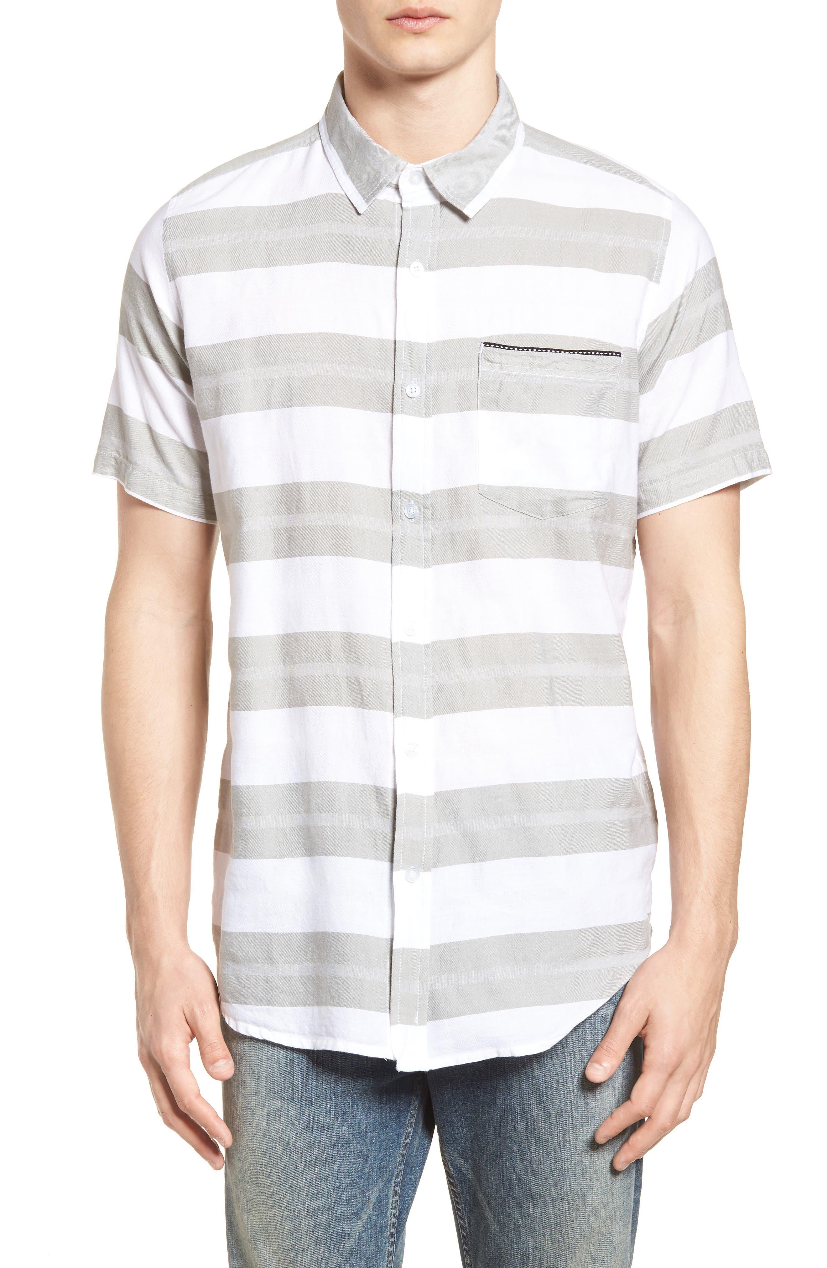 Dobson Woven Shirt,                             Main thumbnail 1, color,                             WHITE/SMOKE STRIPE