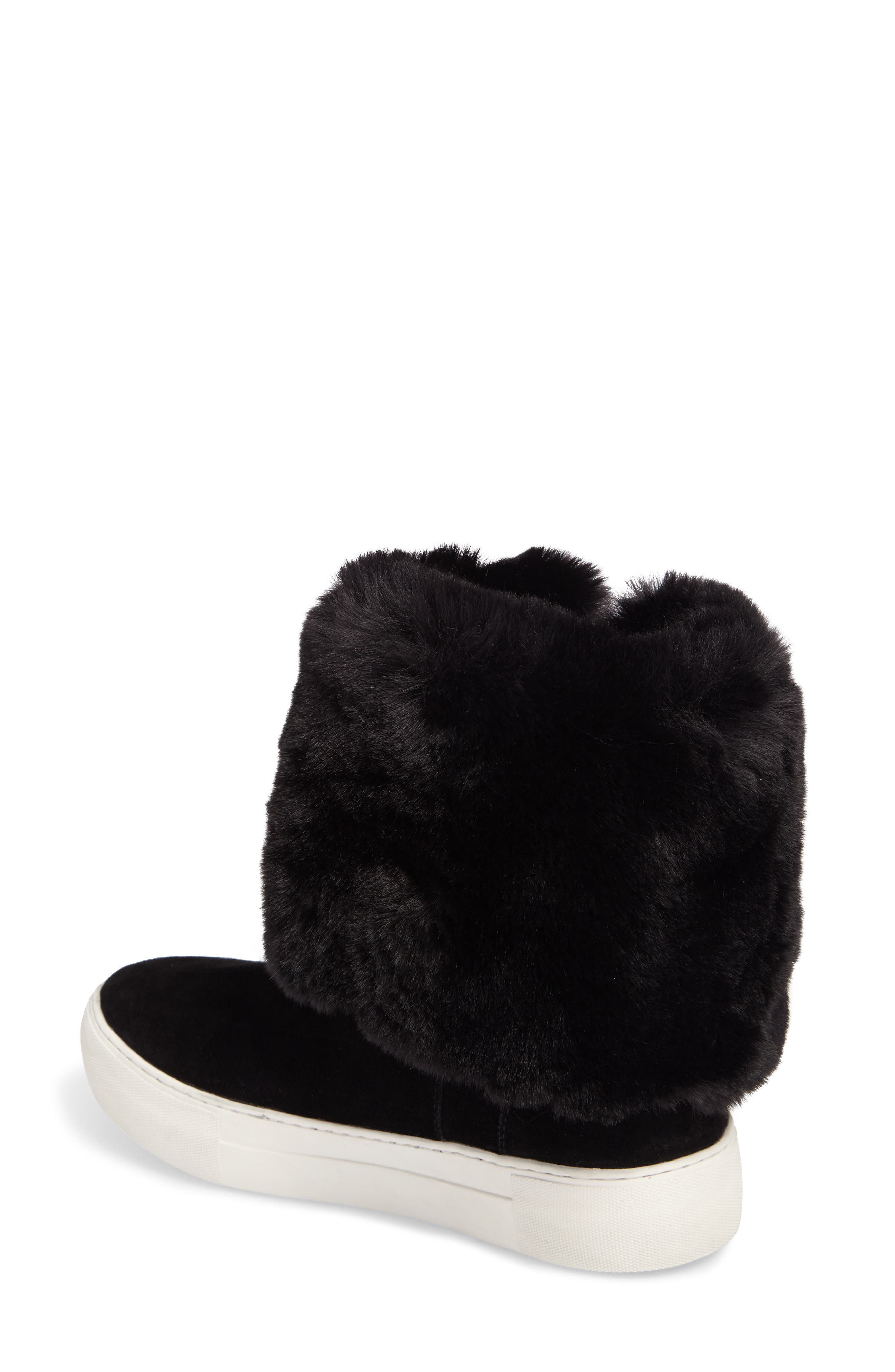 Apple Faux Shearling Boot,                             Alternate thumbnail 3, color,                             BLACK SUEDE