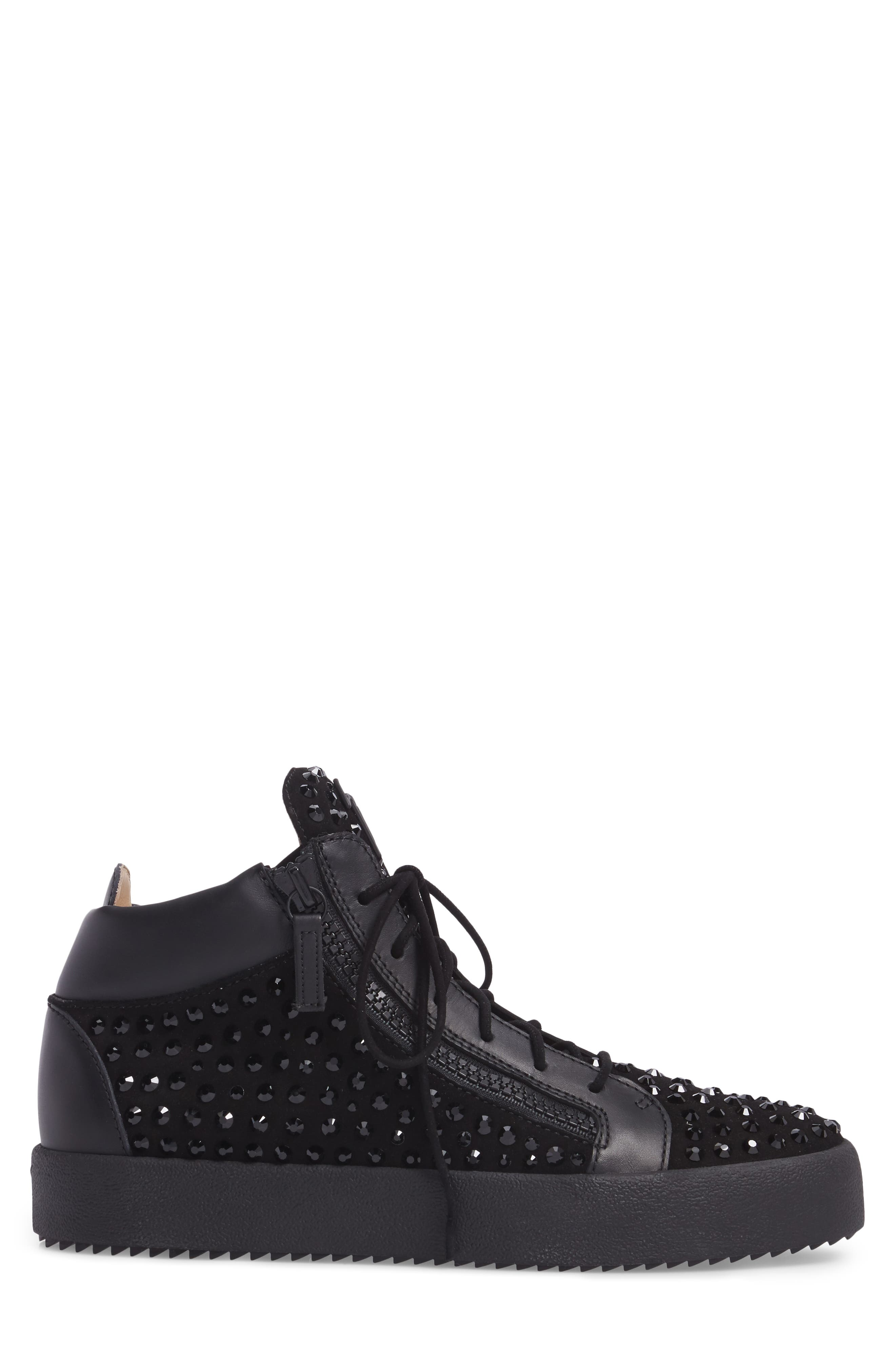 Mid-Top Sneaker,                             Alternate thumbnail 3, color,                             BLACK