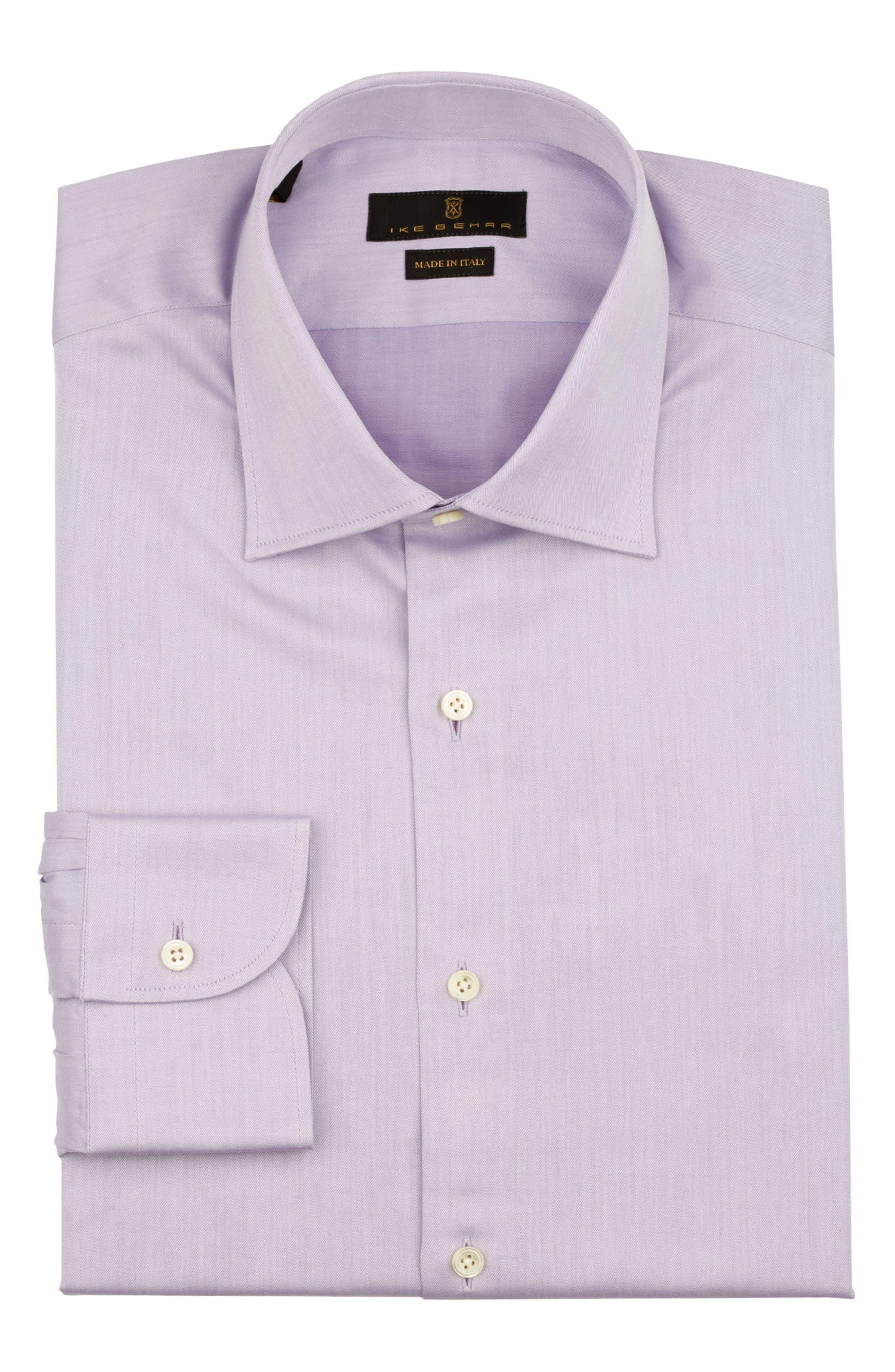 Regular Fit Solid Dress Shirt,                             Alternate thumbnail 5, color,                             PURPLE