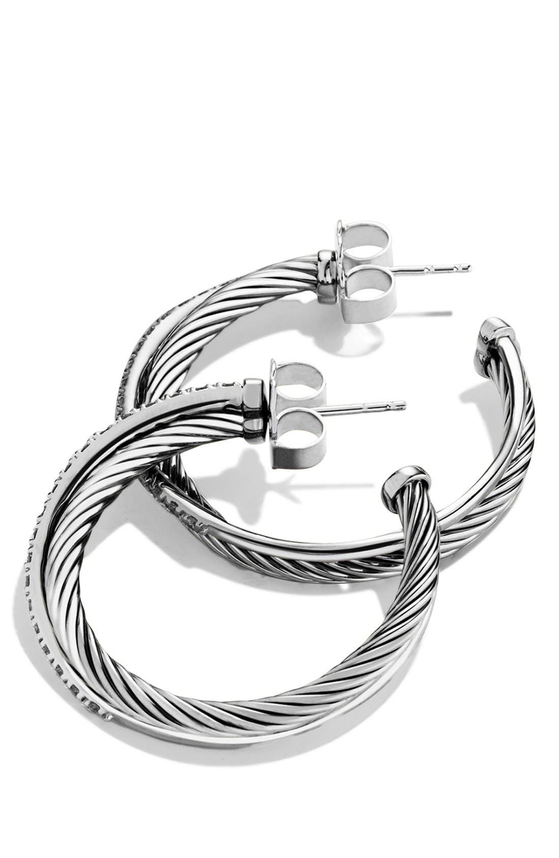 'Crossover' Hoop Earrings with Diamonds,                             Alternate thumbnail 2, color,                             040