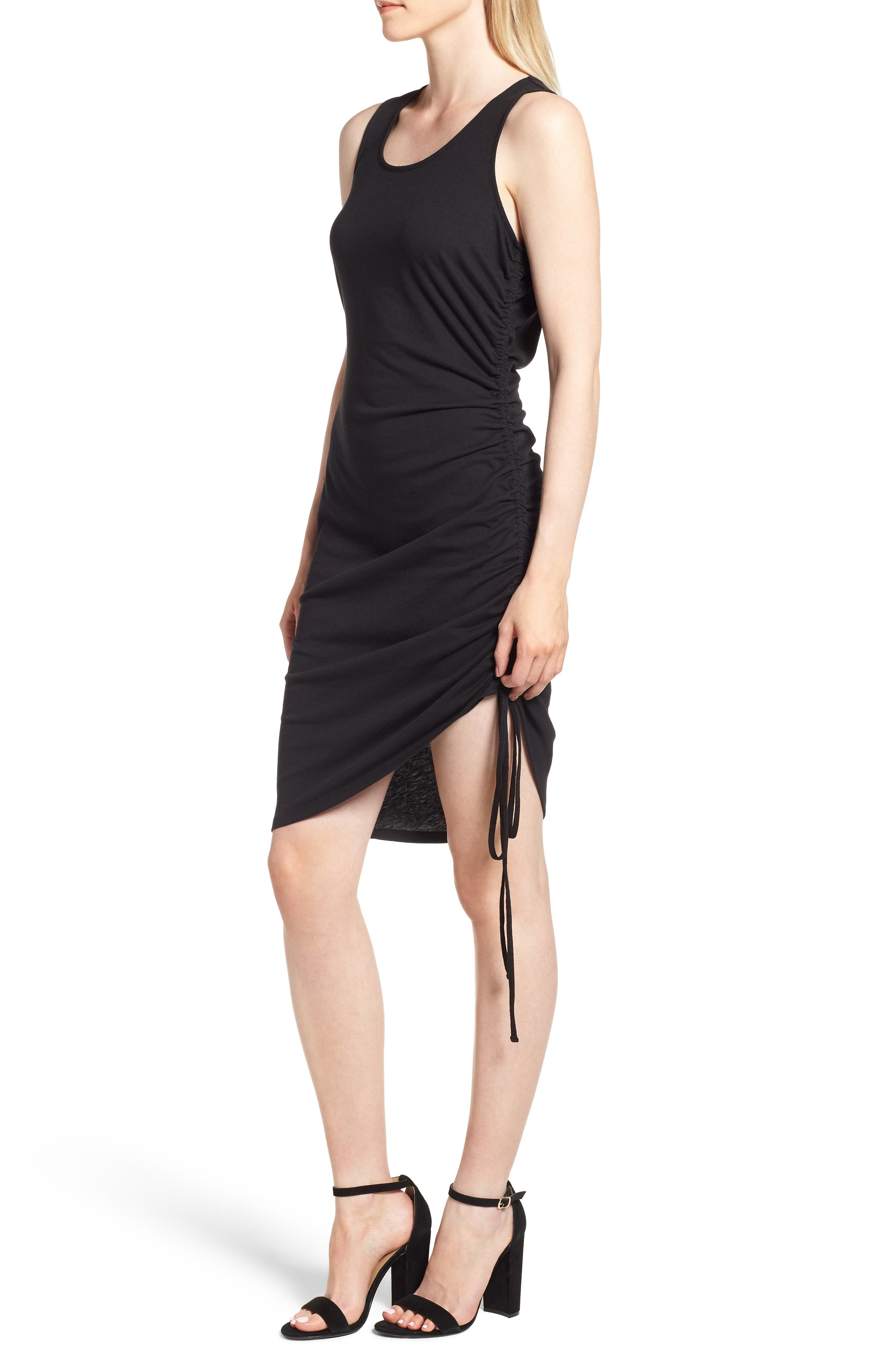 Side Shirred Body-Con Dress,                             Alternate thumbnail 3, color,                             001