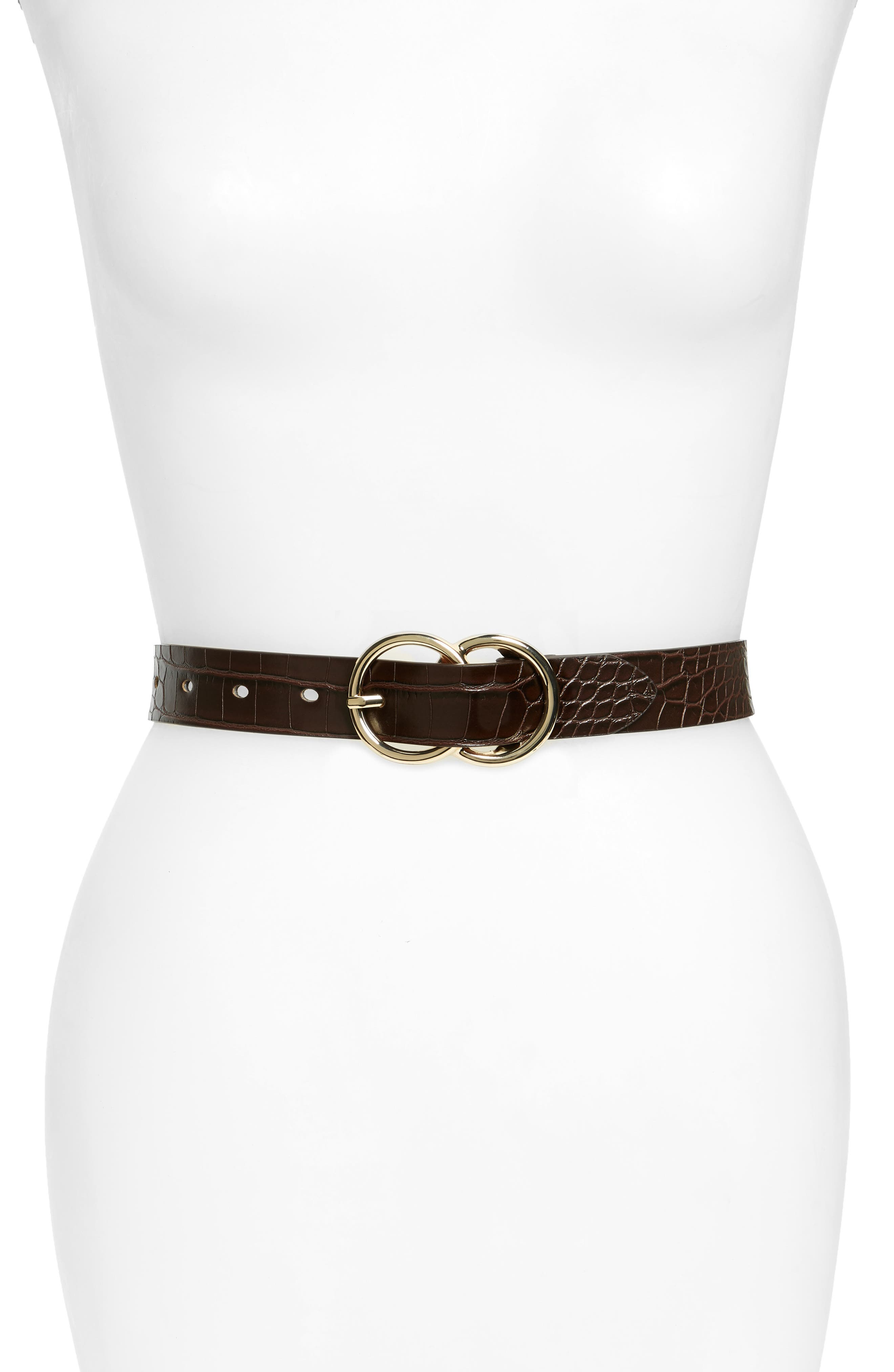 Double Ring Croc Embossed Faux Leather Belt,                             Main thumbnail 1, color,                             BROWN SADDLE