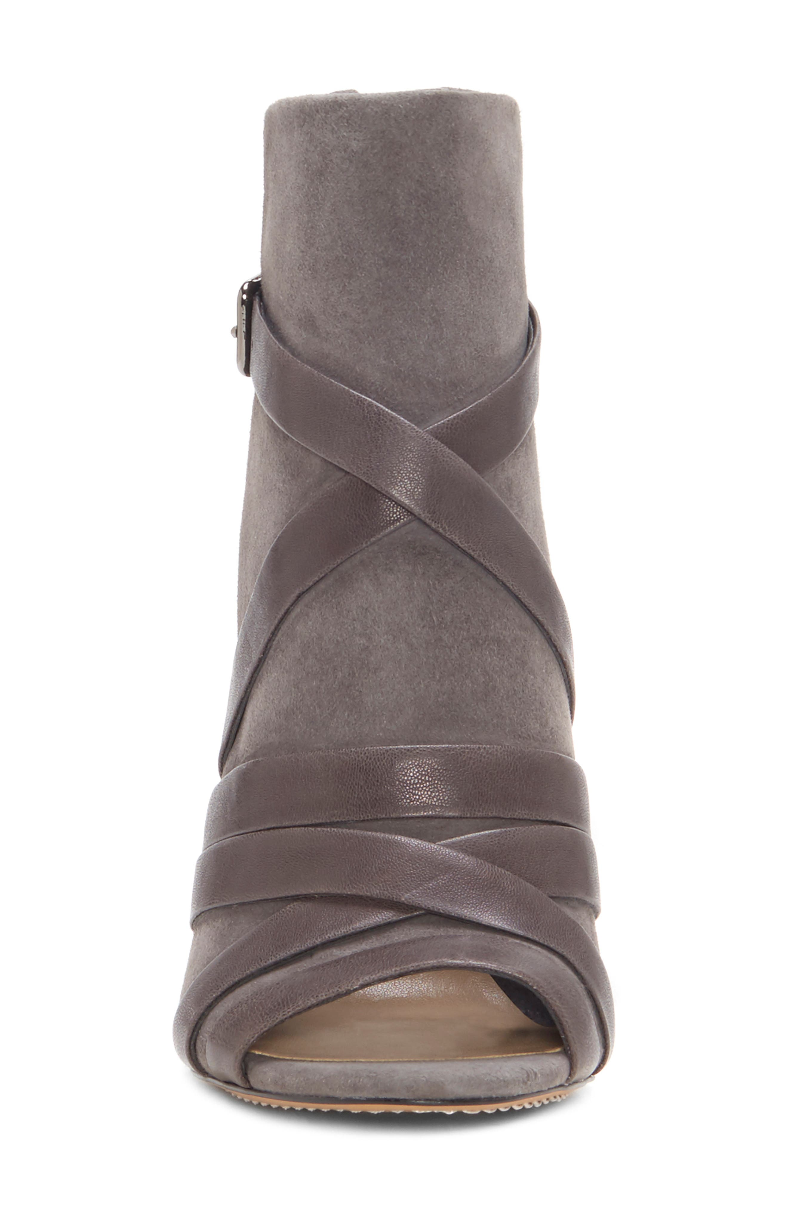 Achika Belted Peep Toe Bootie,                             Alternate thumbnail 4, color,                             POWER GREY LEATHER