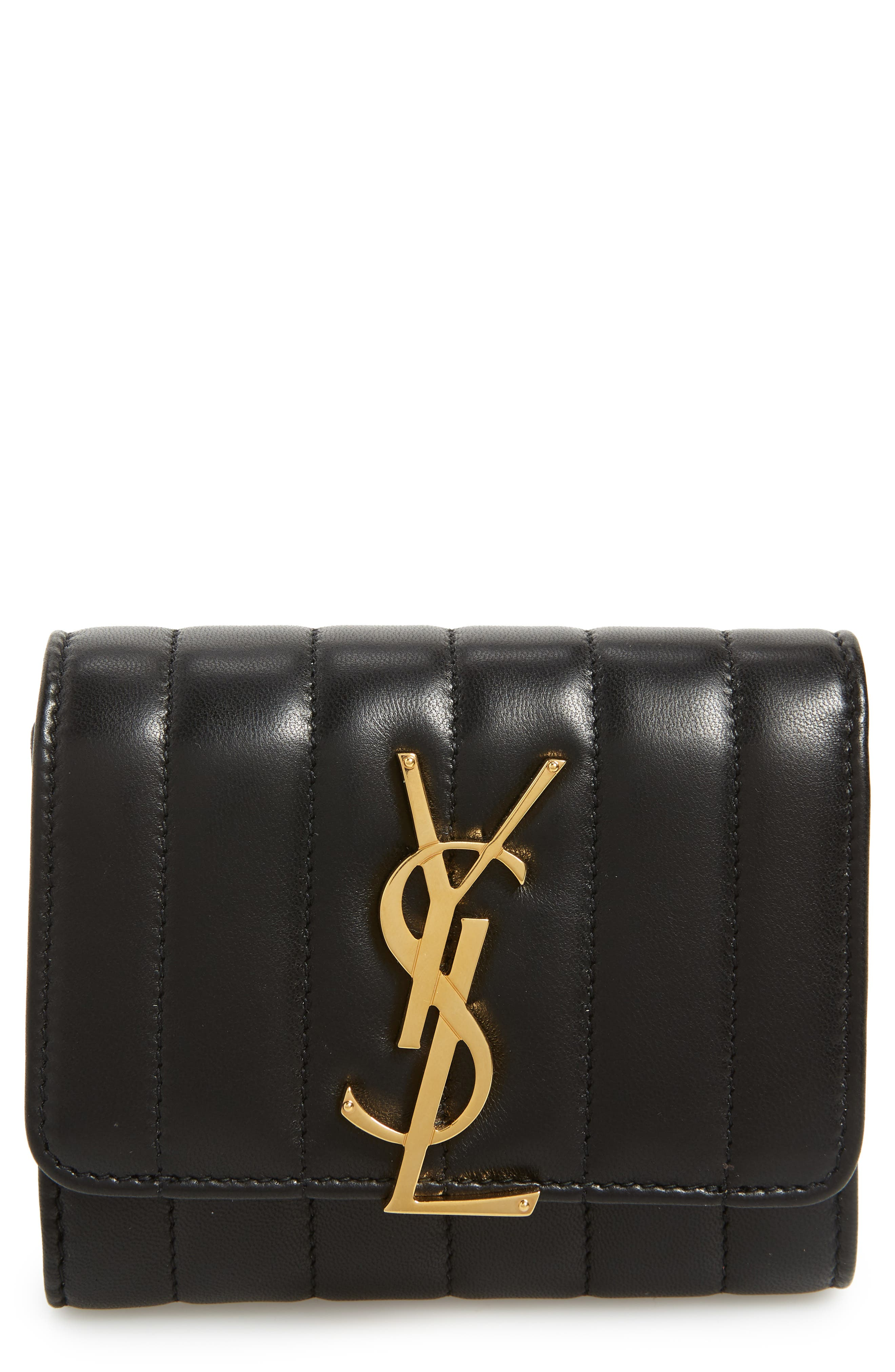 Vicky Lambskin Leather Trifold Wallet,                             Main thumbnail 1, color,                             NOIR