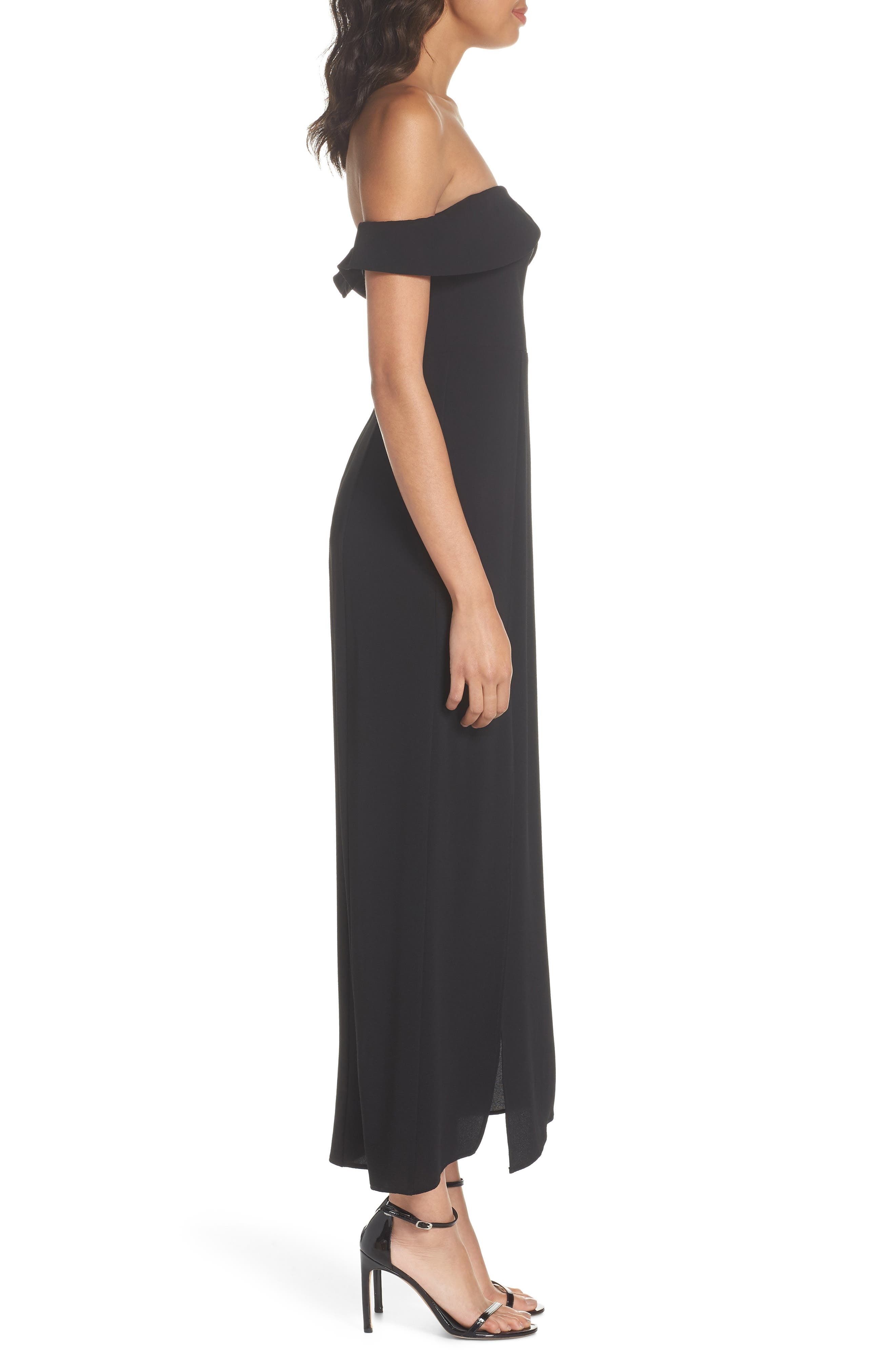Upton Off the Shoulder Gown,                             Alternate thumbnail 3, color,                             BLACK CRINKLE STRETCH