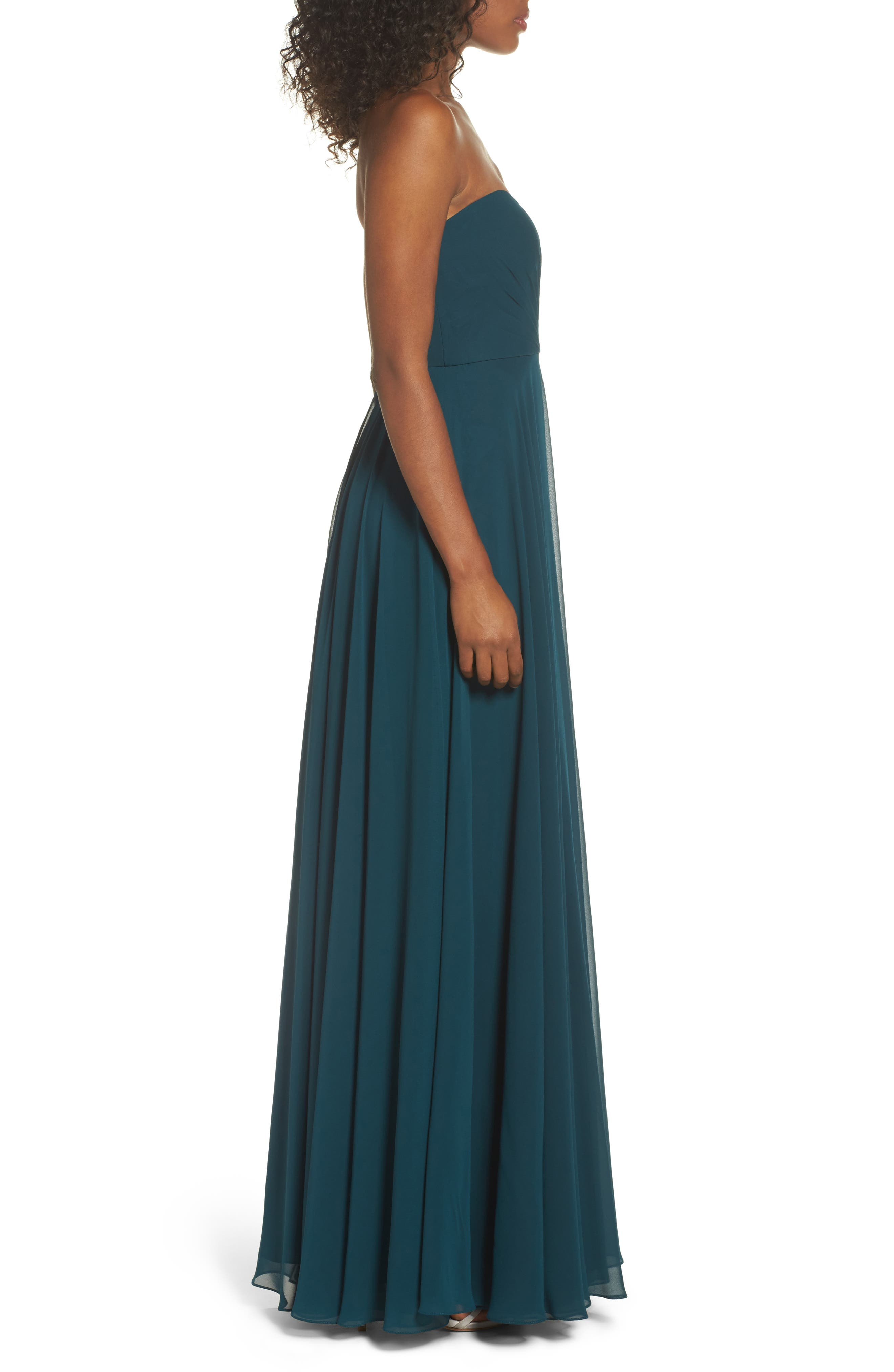 JENNY YOO,                             Adeline Strapless Chiffon Gown,                             Alternate thumbnail 3, color,                             444