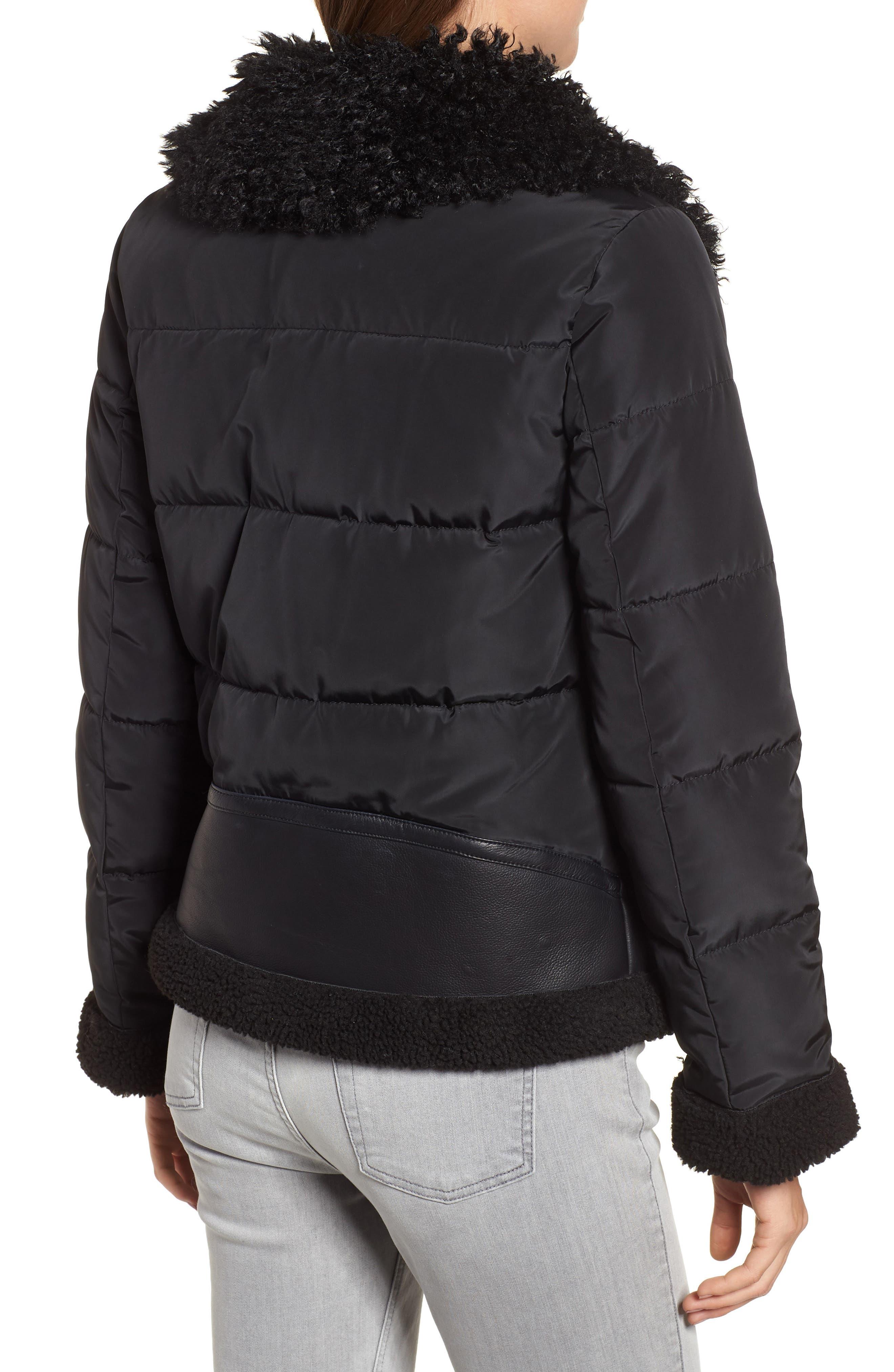 Faux Shearling Hybrid Jacket,                             Alternate thumbnail 2, color,                             BLACK