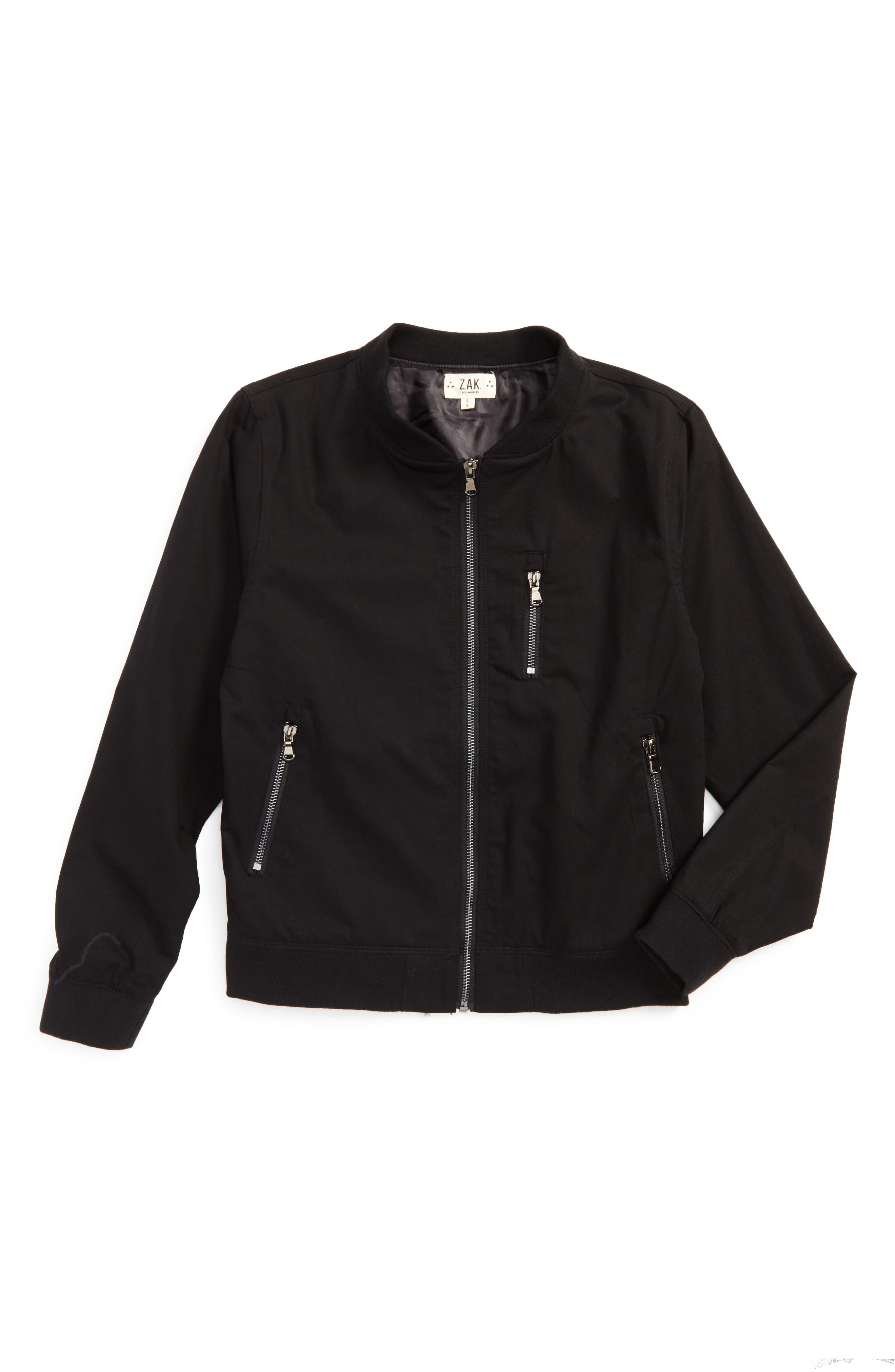 Zip-Up Bomber Jacket,                             Main thumbnail 1, color,                             BLACK