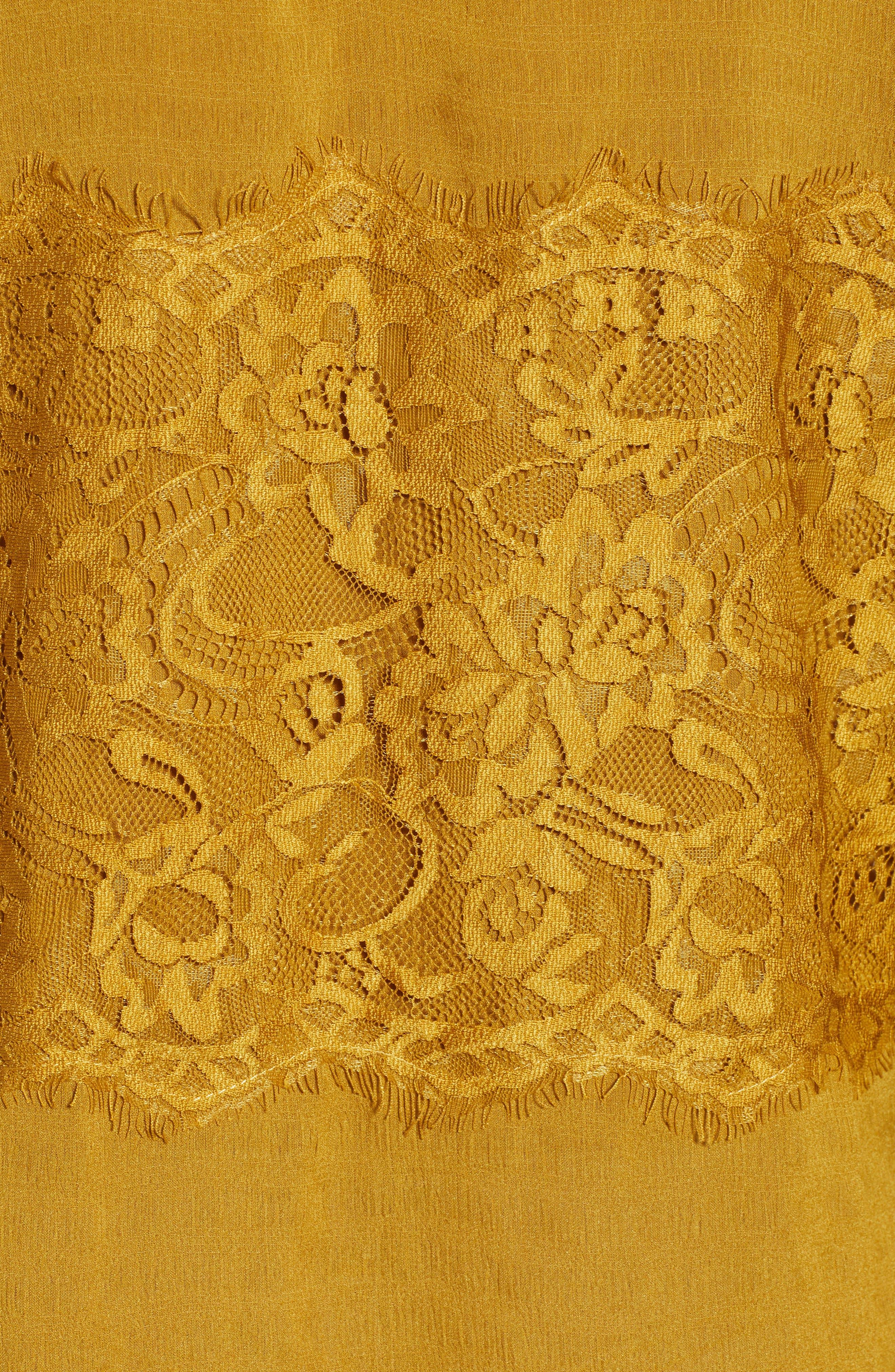 Lace Panel Blouse,                             Alternate thumbnail 5, color,                             GOLDEN ROD