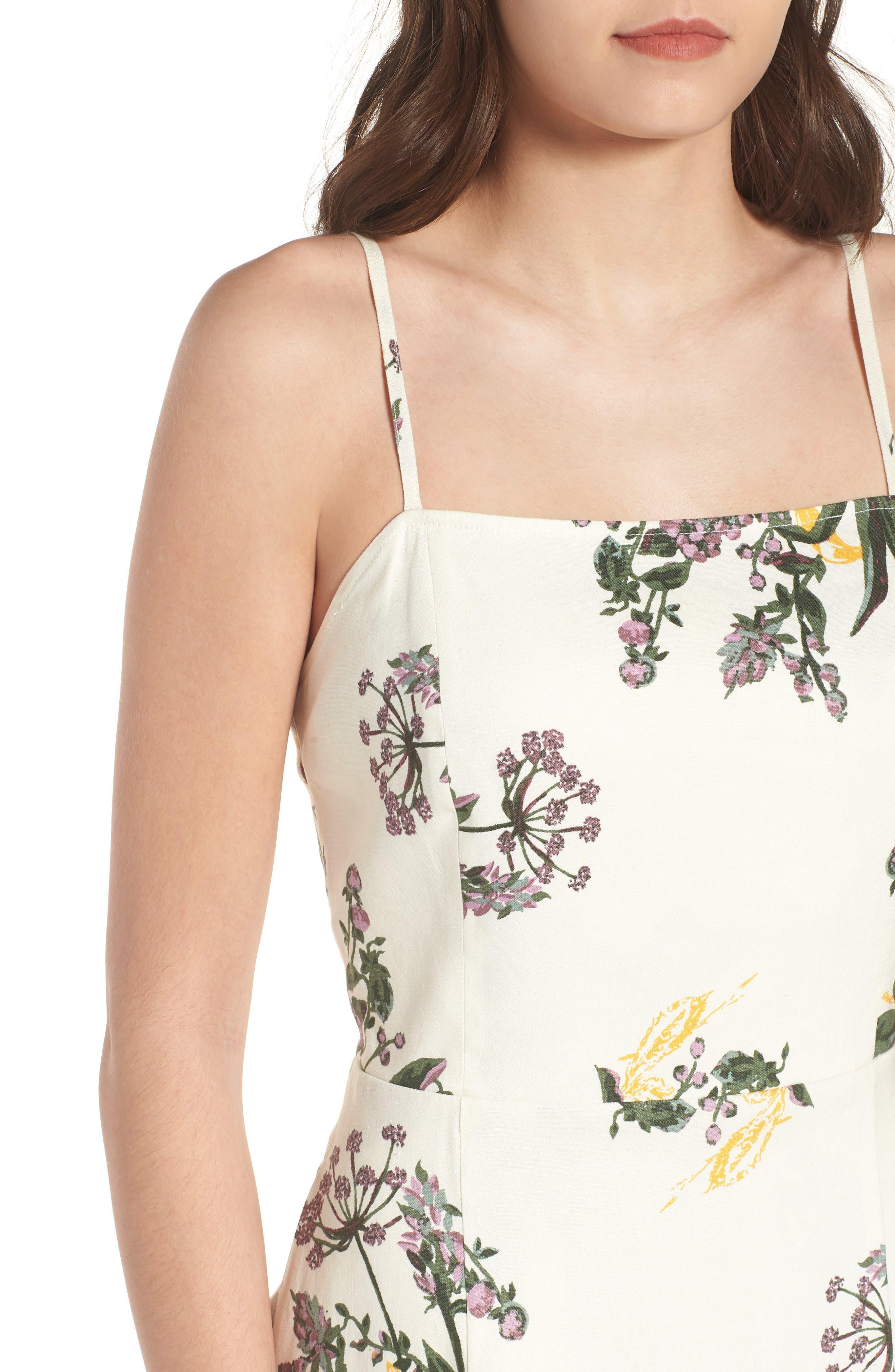 Floral Print Midi Dress,                             Alternate thumbnail 4, color,                             900