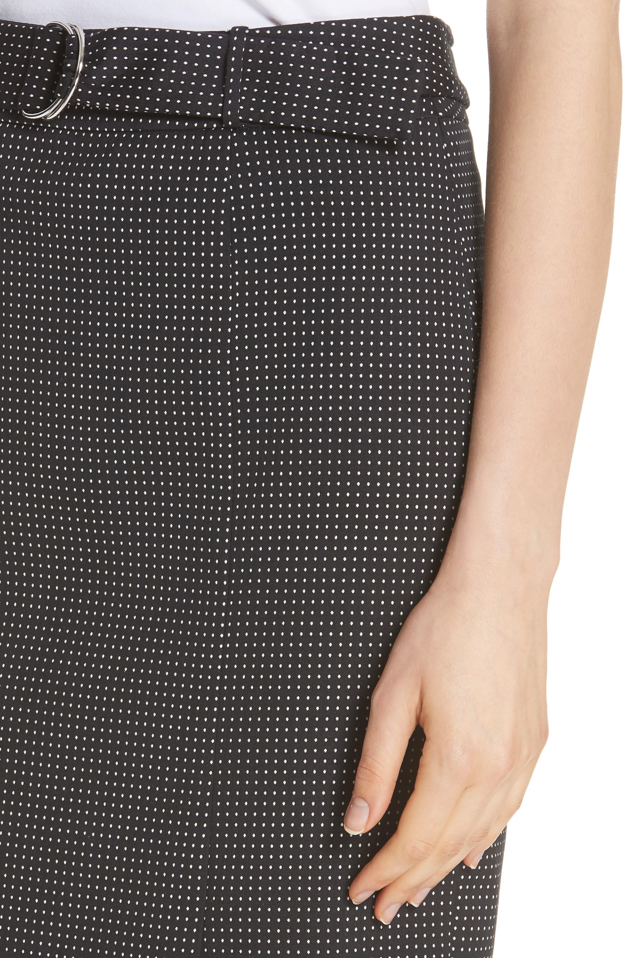 Vumano Dot Dessin Stretch Suit Skirt,                             Alternate thumbnail 4, color,                             BLACK FANTASY