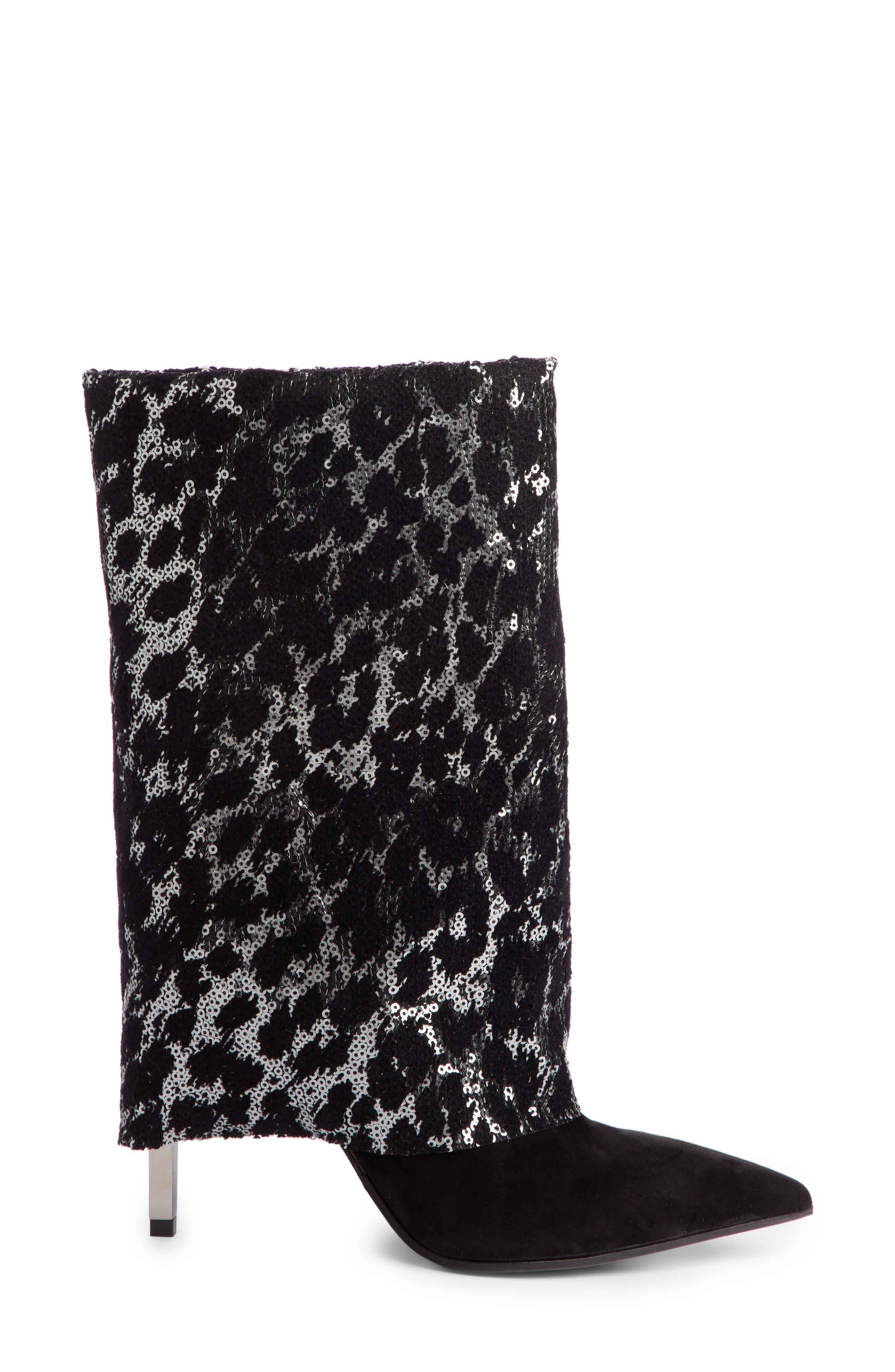 Babette Sequin Leopard Print Bootie,                             Alternate thumbnail 3, color,                             BLACK/ SILVER