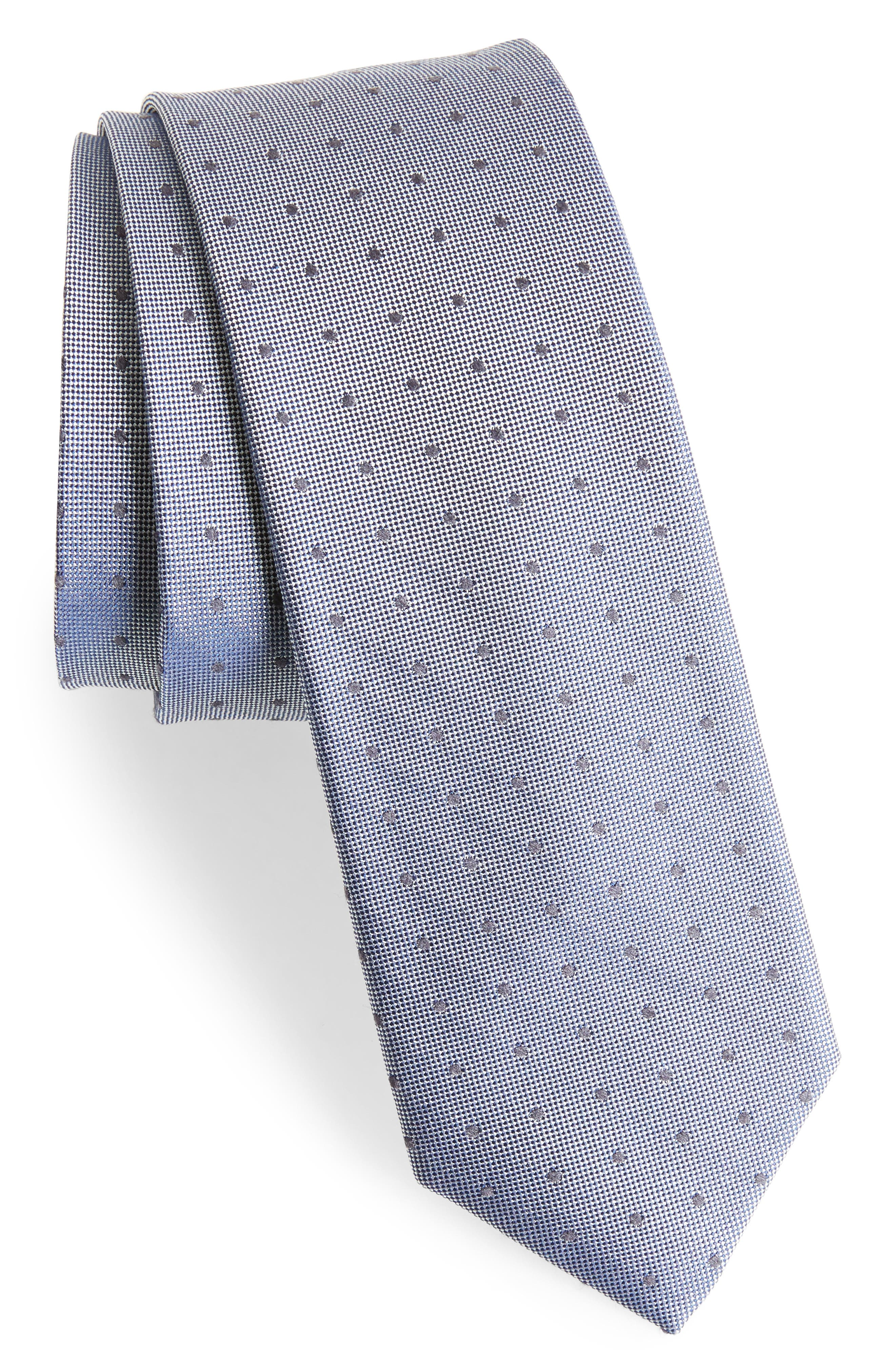 Dot Silk Blend Skinny Tie,                             Main thumbnail 1, color,                             001