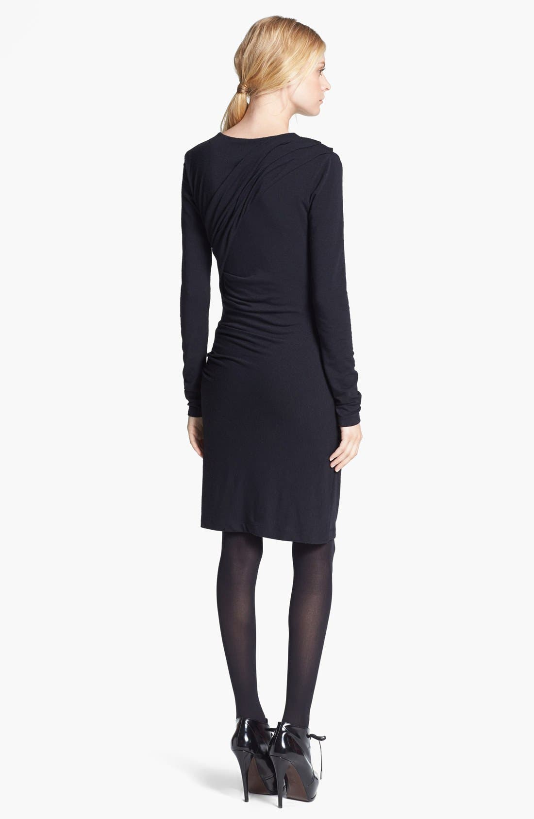 T by Alexander Wang Gathered Jersey Dress,                             Alternate thumbnail 3, color,                             001