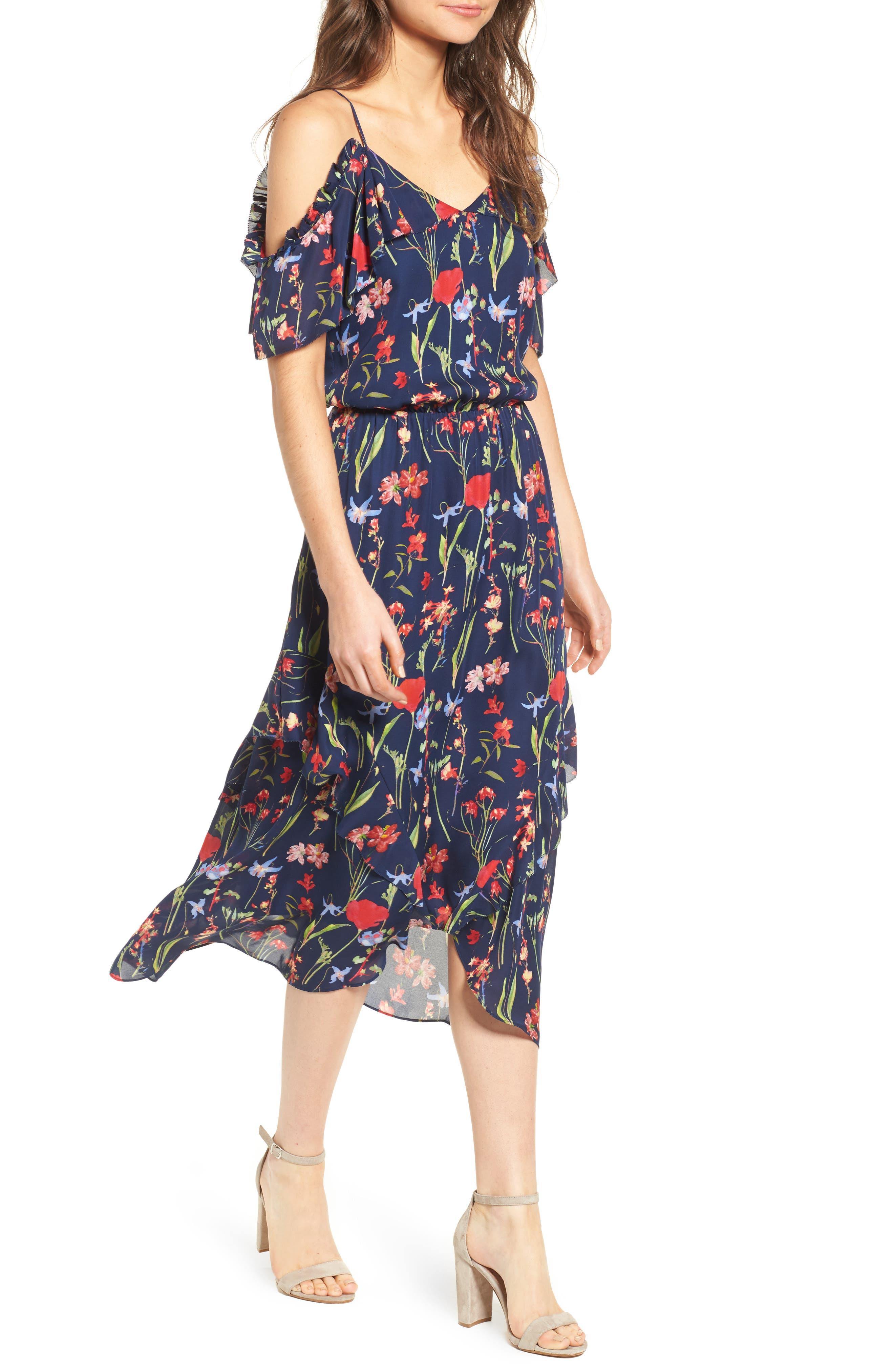 Kam Cold Shoulder Silk Dress,                         Main,                         color, 416