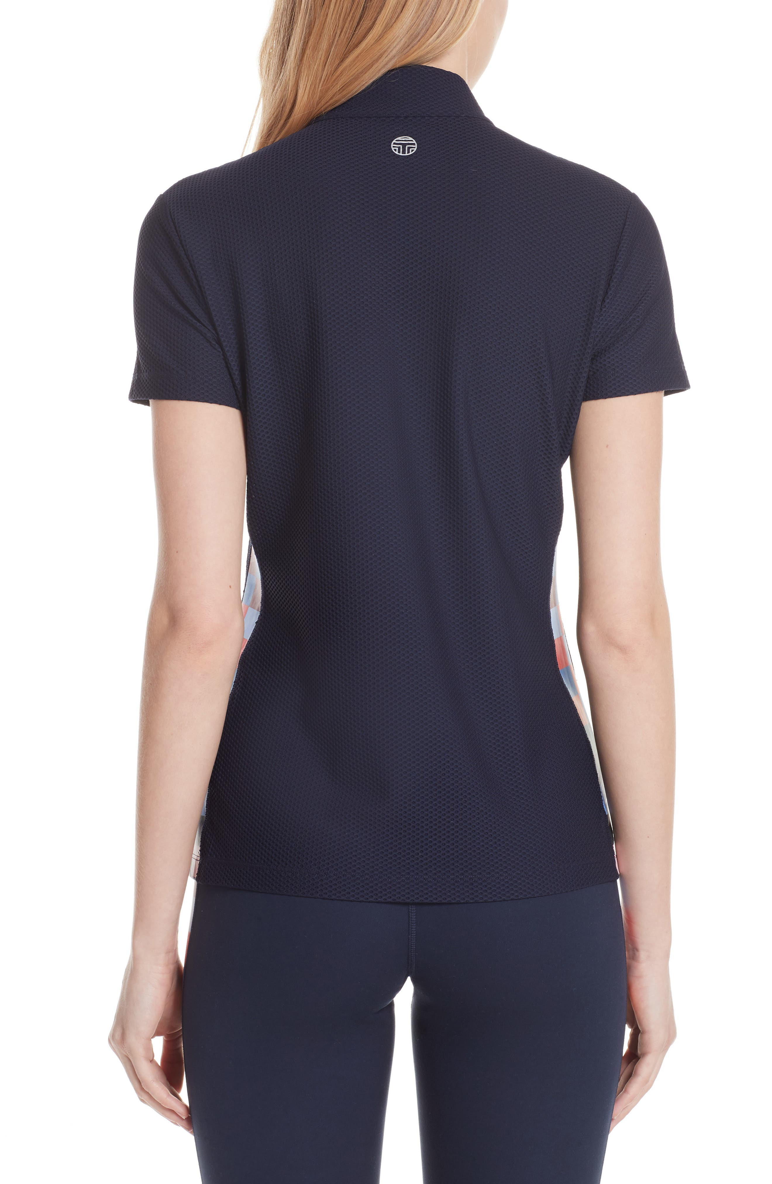 Checker Quarter Zip Mesh Top,                             Alternate thumbnail 2, color,                             TORY NAVY