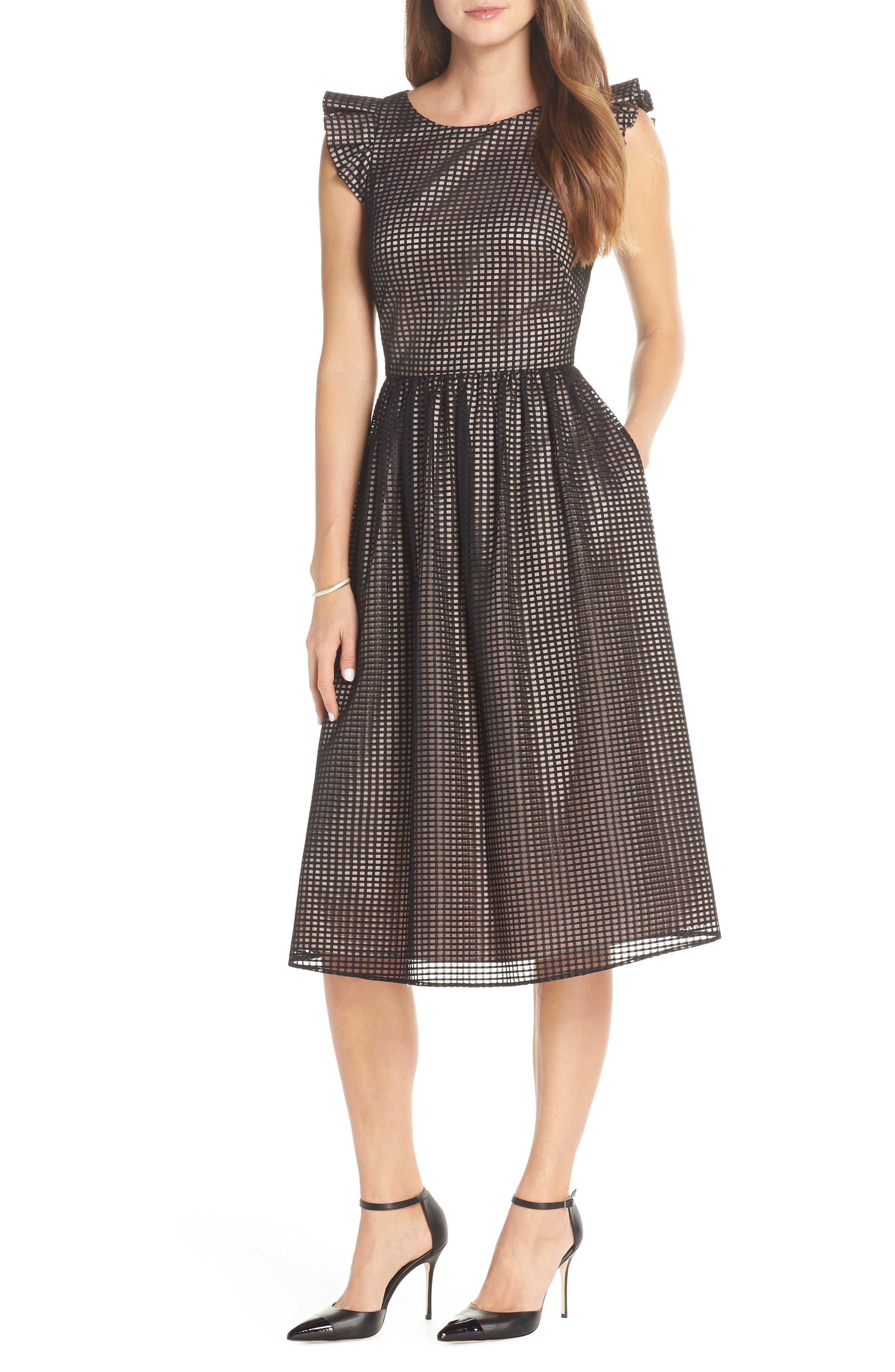 1901 Ruffle Grid Overlay Midi Dress, Main, color, 001