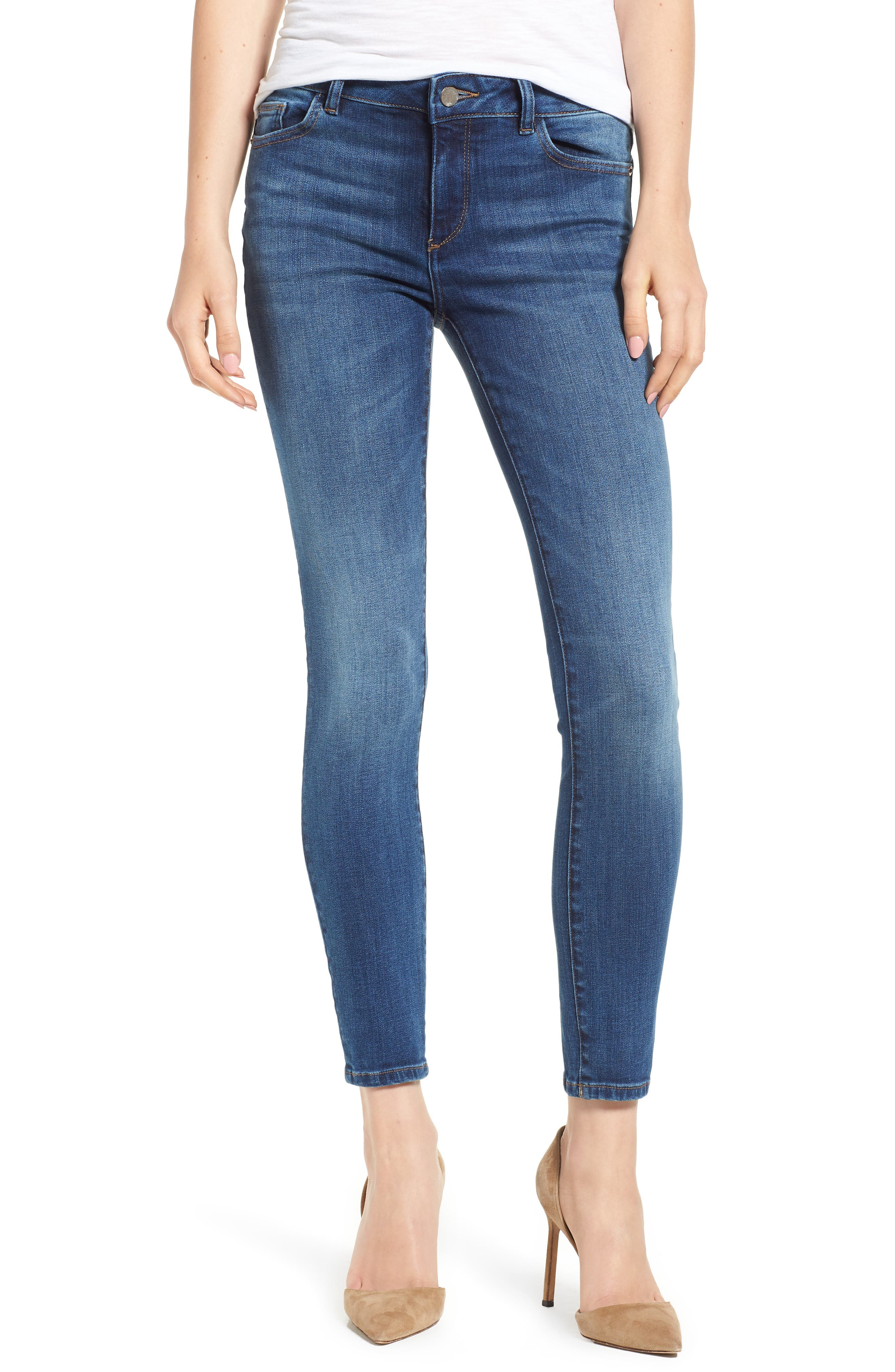 DL1961 Florence Midrise Instasculpt Ankle Skinny Jeans, Main, color, SABINE