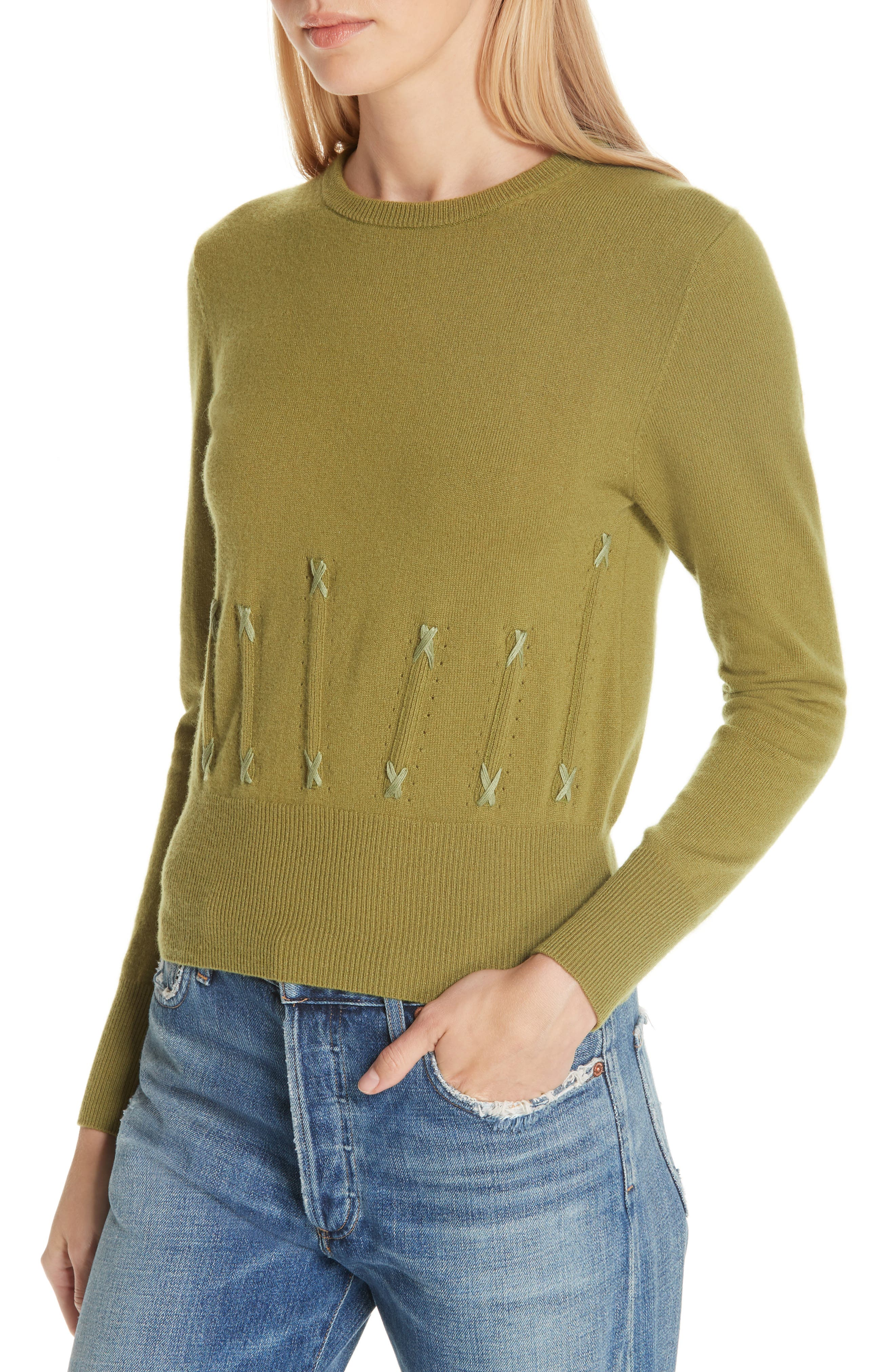 Cailyn Corset Knit Cashmere Sweater,                             Alternate thumbnail 4, color,                             GREEN