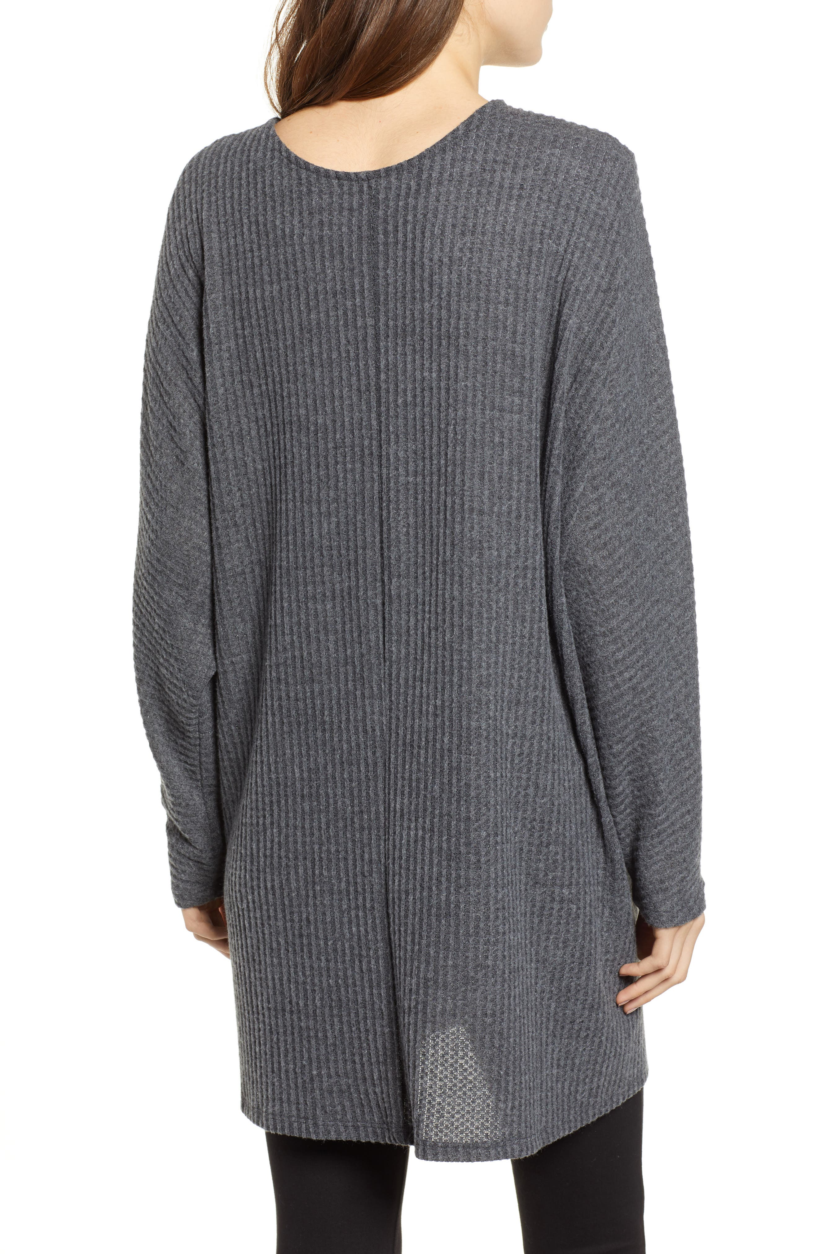 Keep It Casual Thermal Cardigan,                             Alternate thumbnail 2, color,                             CHARCOAL